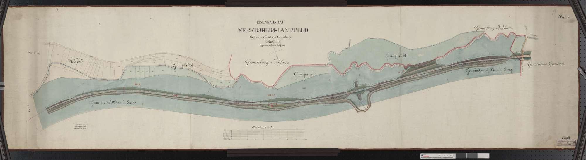 Gütervermessung der Bahn von Meckesheim bis Jagstfeld: Gemarkung Steinsfurt Streckenausschnitt: 15,7 bis 17,4 km, Bild 1