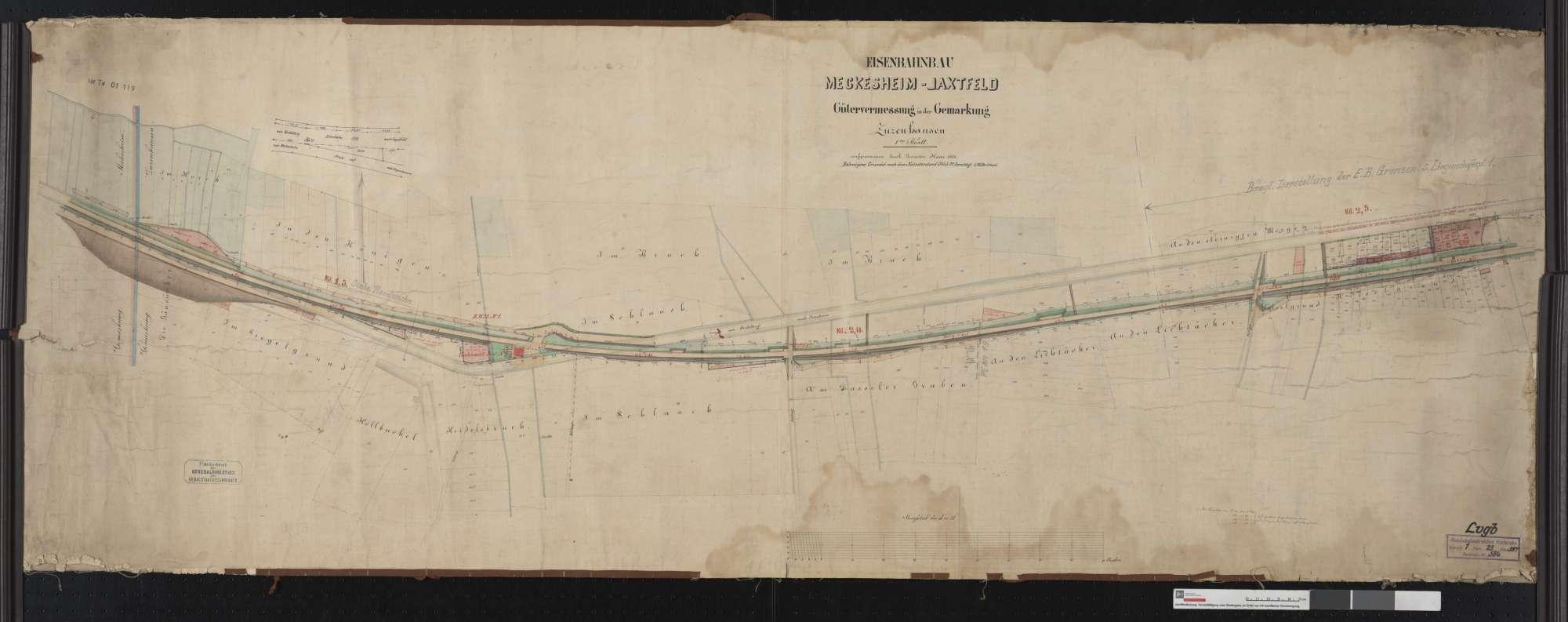 Gütervermessung der Bahn von Meckesheim bis Jagstfeld: Gemarkung Zuzenhausen Streckenausschnitt: 1,3 bis 2,6 km, Bild 1