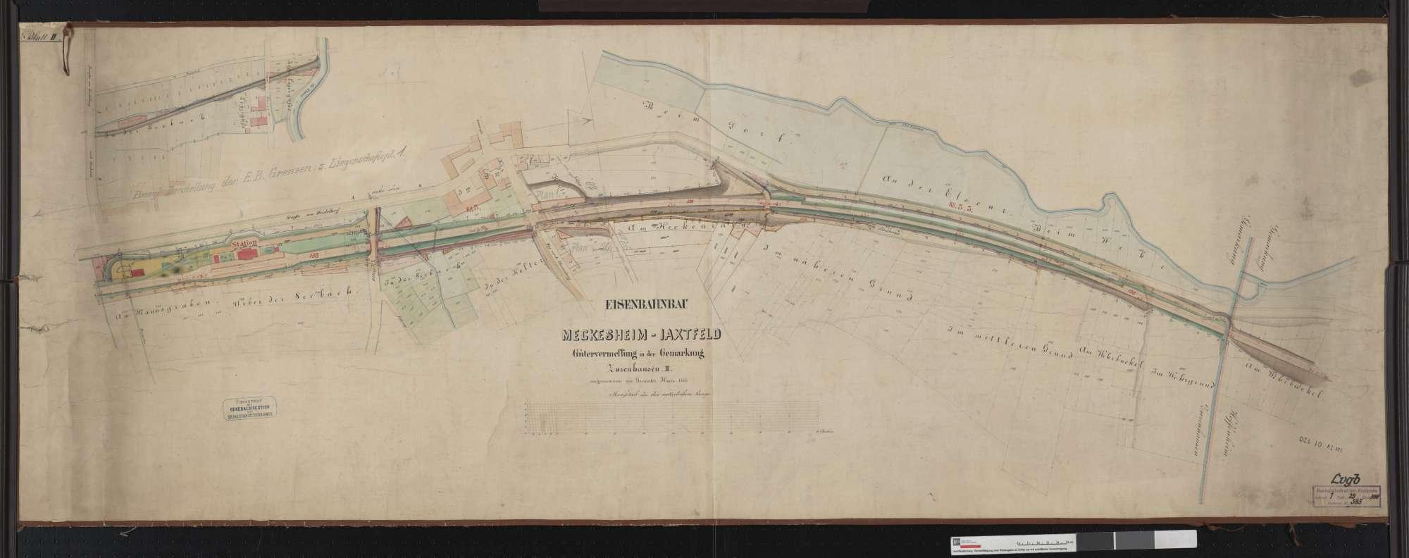 Gütervermessung der Bahn von Meckesheim bis Jagstfeld: Gemarkung Zuzenhausen Streckenausschnitt: 2,6 bis 3,9 km, Bild 1