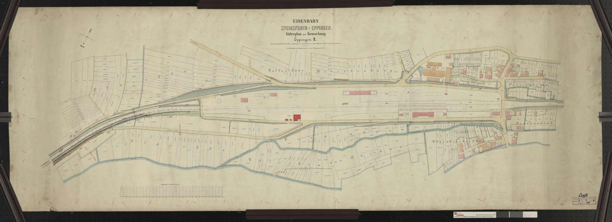 Güterplan der Bahn von Steinsfurt bis Eppingen: Gemarkung Eppingen Streckenausschnitt: 11,7 bis 13,1 km, Bild 1
