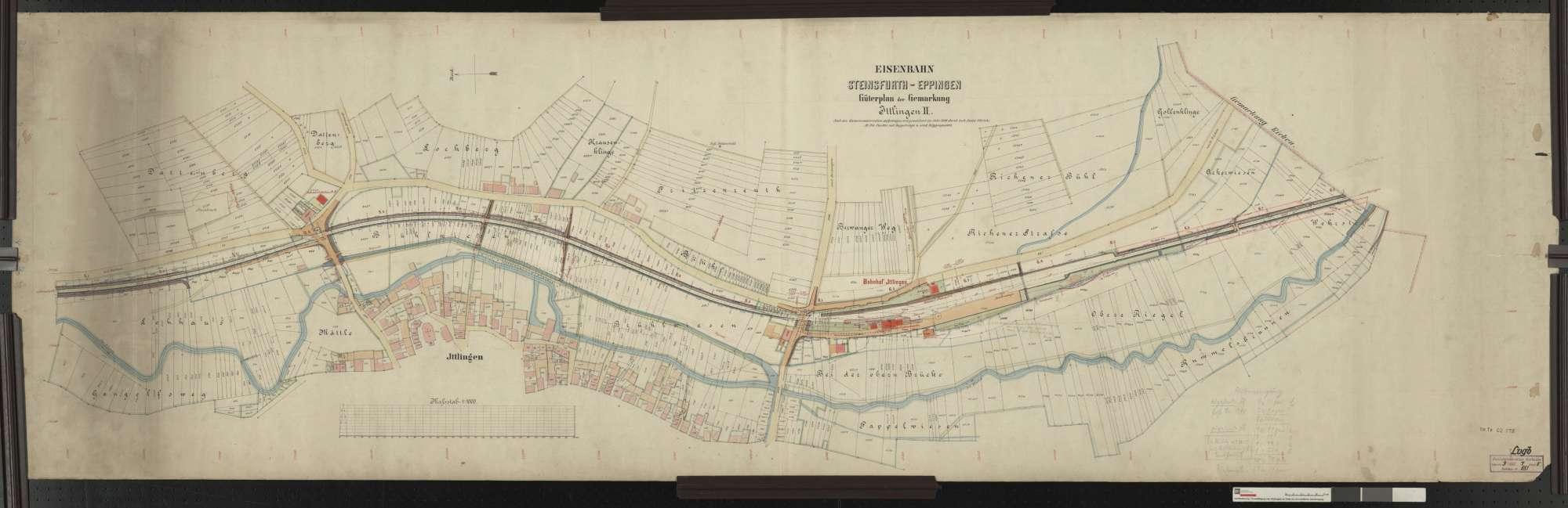 Güterplan der Bahn von Steinsfurt bis Eppingen: Gemarkung Ittlingen Streckenausschnitt: 5,1 bis 6,8 km, Bild 1