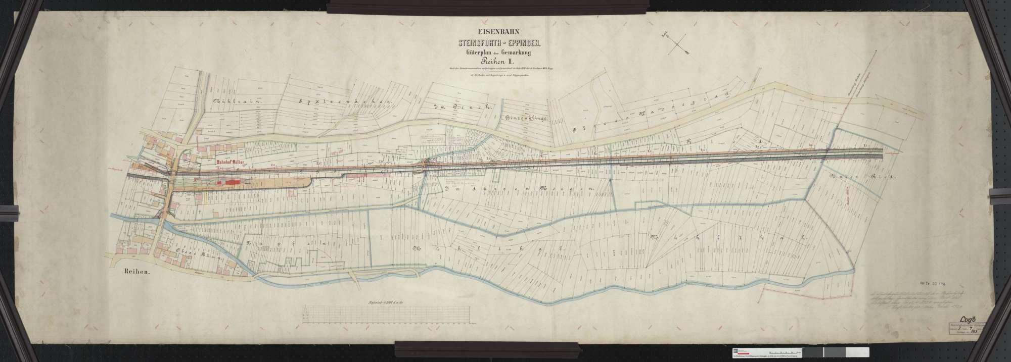 Güterplan der Bahn von Steinsfurt bis Eppingen: Gemarkung Reihen Streckenausschnitt: 2,4 bis 3,7 km, Bild 1