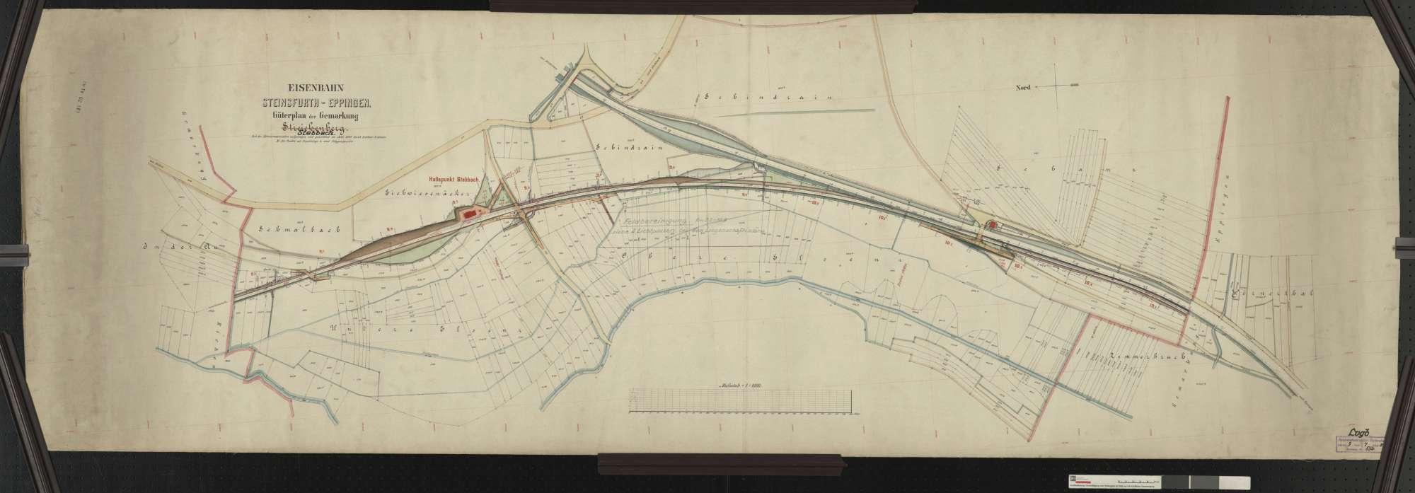 Güterplan der Bahn von Steinsfurt bis Eppingen: Gemarkung (Streichenberg) Stebbach Streckenausschnitt: 9,2 bis 10,7 km, Bild 1