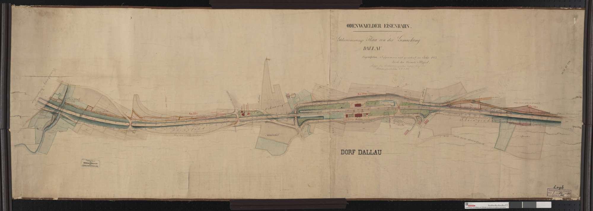 Gütervermessung der Odenwälder Eisenbahn: Gemarkung Dallau Streckenausschnitt: 58,0 bis 59,6 km, Bild 1