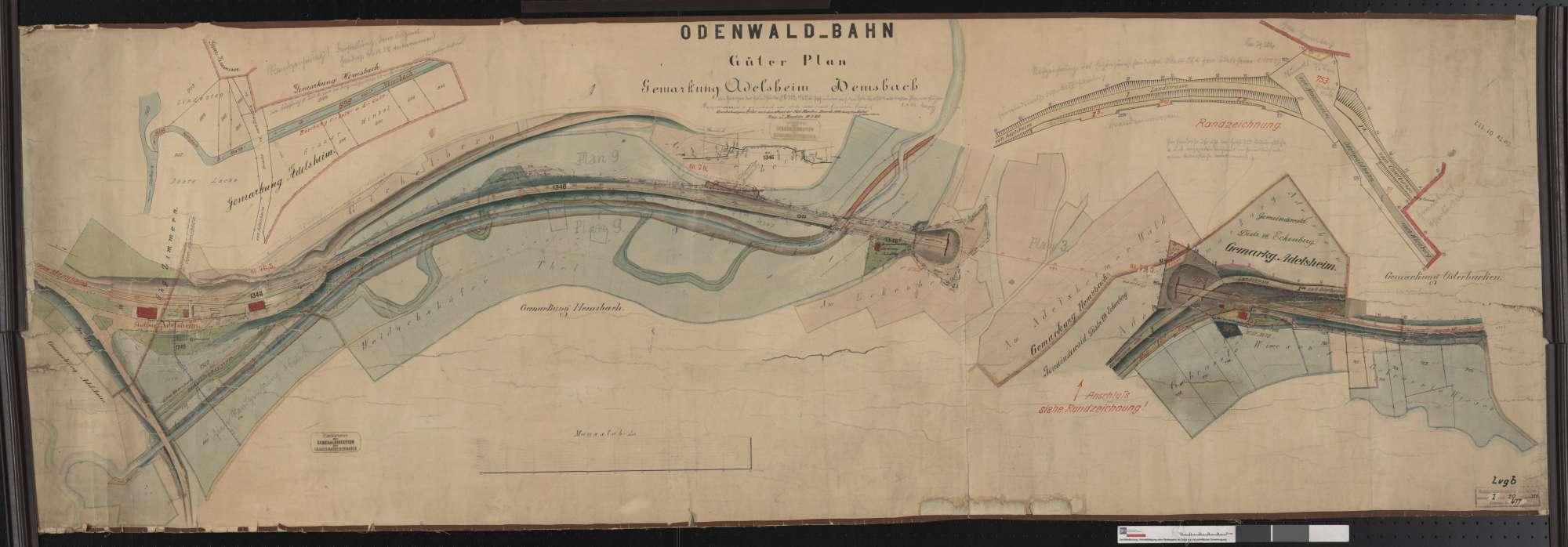 Güterplan der Odenwaldbahn: Gemarkung Adelsheim, Hemsbach Streckenausschnitt: 78,3 bis 79,9 km, Bild 1