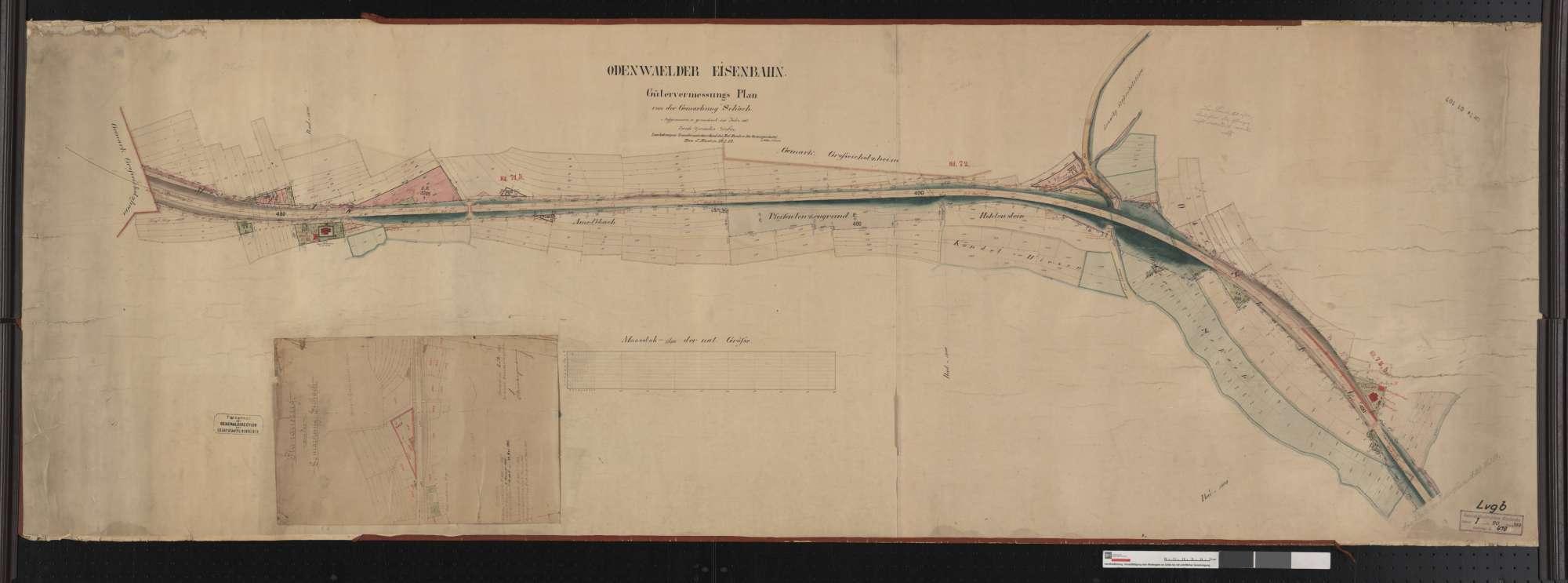 Gütervermessung der Odenwälder Eisenbahn: Gemarkung Seckach Streckenausschnitt: 71,1 bis 72,6 km, Bild 1