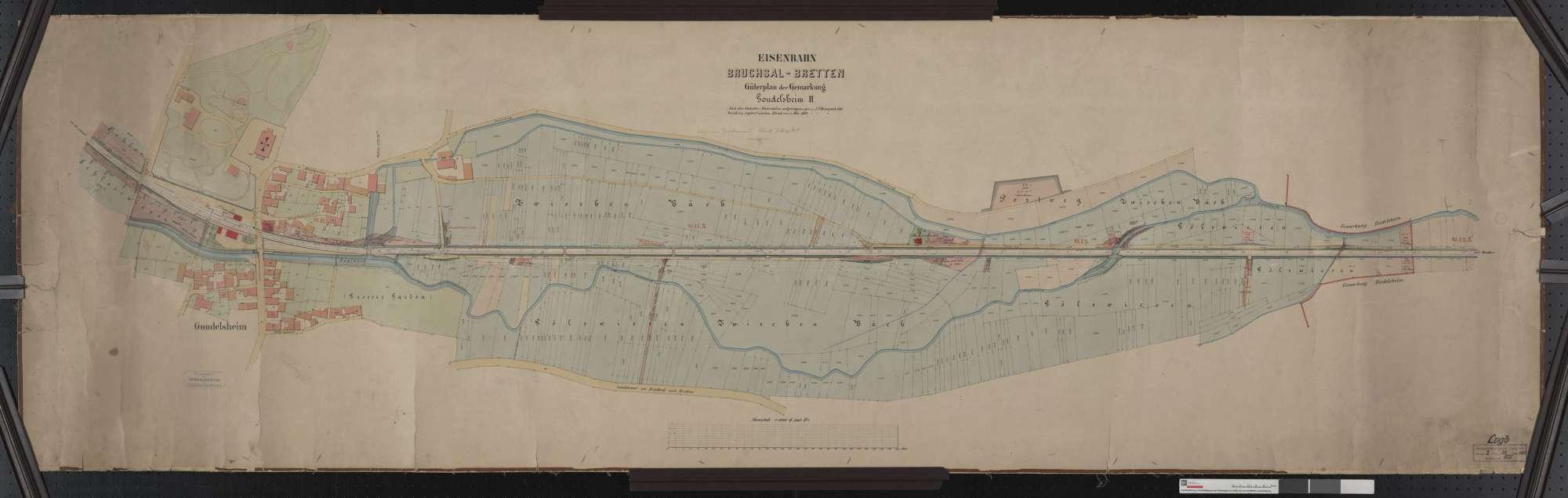 Güterplan der Bahn von Bruchsal bis Bretten: Gemarkung Gondelsheim Streckenausschnitt: 10,7 bis 12,5 km, Bild 1