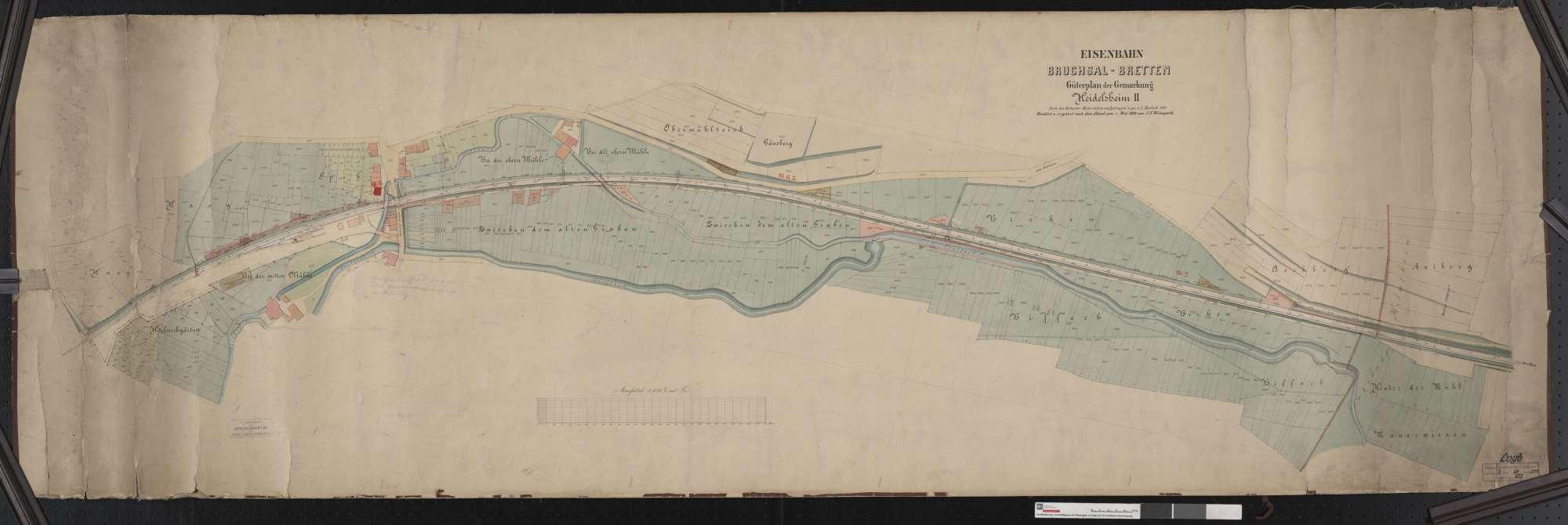 Güterplan der Bahn von Bruchsal bis Bretten: Gemarkung Heidelsheim Streckenausschnitt: 5,6 bis 7,4 km, Bild 1