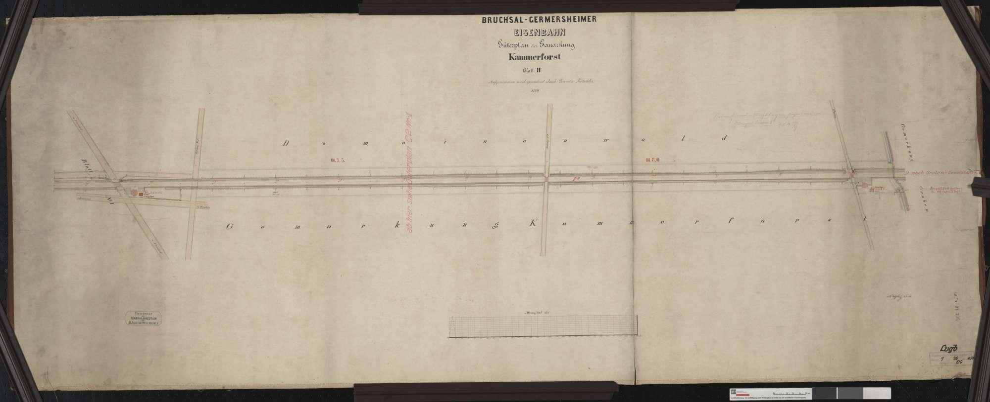 Güterplan der Bahn von Bruchsal bis Germersheim: Gemarkung Kammerforst Streckenausschnitt: 7,1 bis 8,4 km, Bild 1