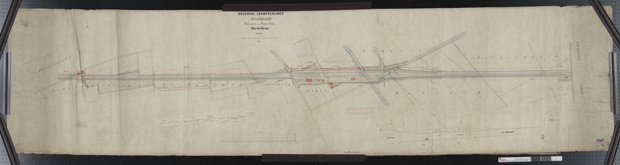 Güterplan der Bahn von Bruchsal bis Germersheim: Gemarkung Rheinsheim Streckenausschnitt: 20,0 bis 22,0 km, Bild 1