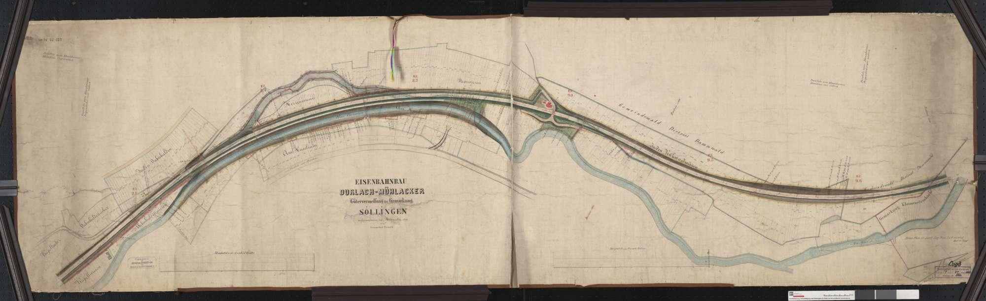Gütervermessung der Bahn von Durlach bis Mühlacker: Gemarkung Söllingen Streckenausschnitt: 7,9 bis 9,7 km, Bild 1