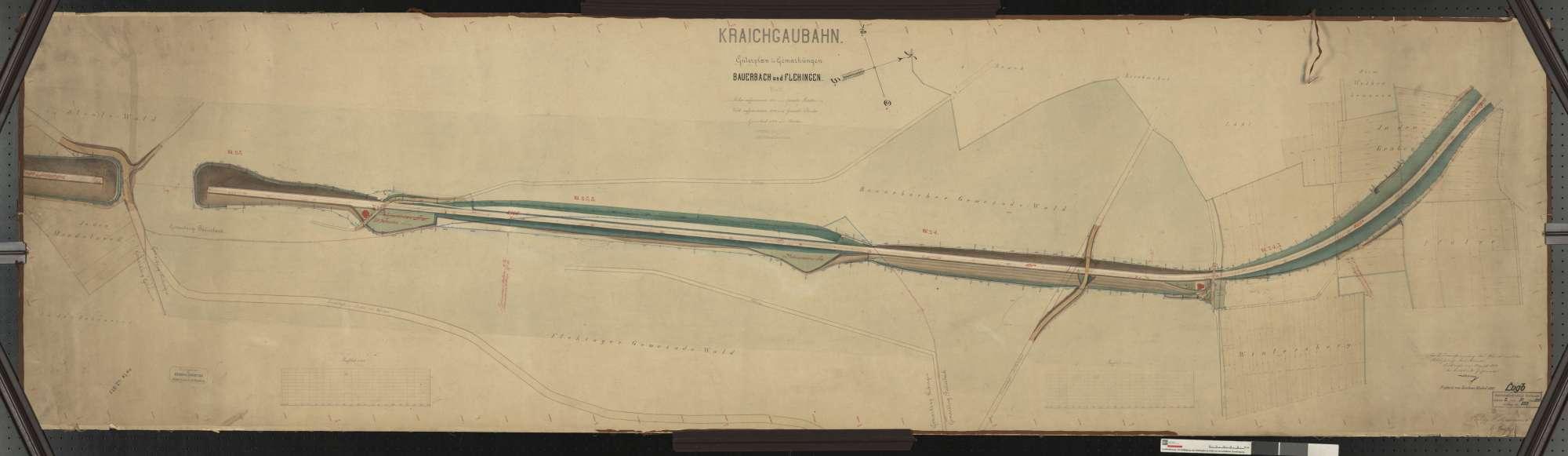 Güterplan der Kraichgaubahn: Gemarkungen Bauerbach und Flehingen Streckenausschnitt: 22,8 bis 24,8 km, Bild 1