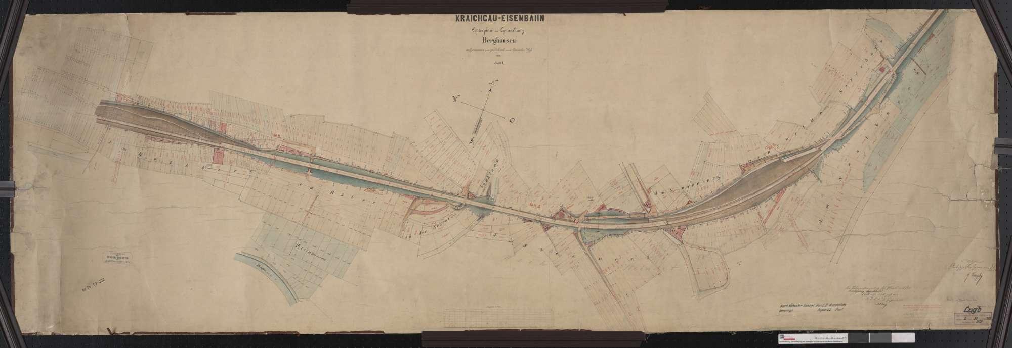 Güterplan der Kraichgaubahn: Gemarkung Berghausen Streckenausschnitt: 1,7 bis 3,4 km, Bild 1