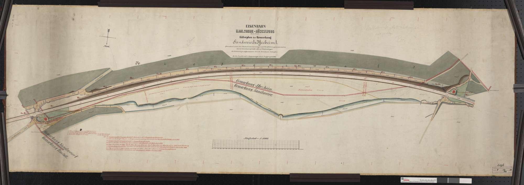 Güterplan der Bahn von Karlsruhe bis Röschwoog (Mitte Rhein): Gemarkungen Sandweier und Iffezheim Streckenausschnitt: 86,5 bis 88,1 km, Bild 1