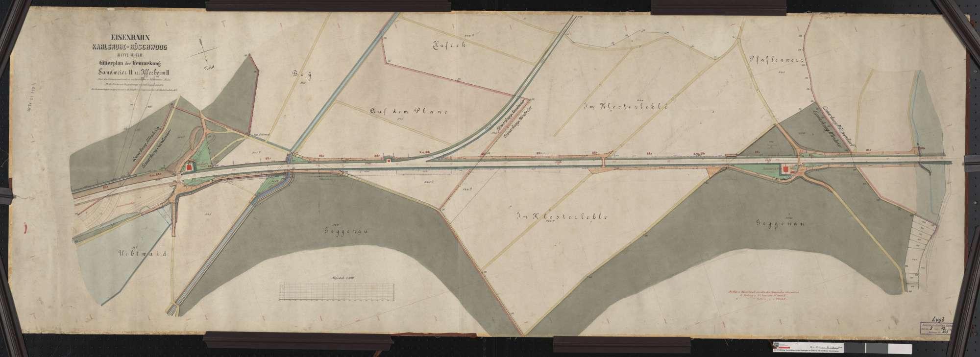 Güterplan der Bahn von Karlsruhe bis Röschwoog (Mitte Rhein): Gemarkungen Sandweier und Iffezheim Streckenausschnitt: 87,9 bis 89,4 km, Bild 1