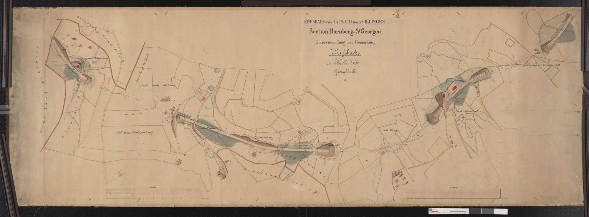 Gütervermessung der Bahn Hausach bis Villingen, Sektion Hornberg-St. Georgen, Gemarkung Nußbach (Greischbach) Streckenausschnitt: 62,3 bis 64,1 km, Bild 1