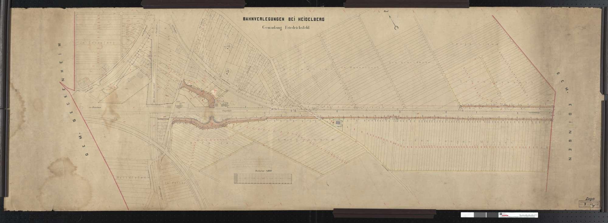 Situationsplan der Bahnverlegungen bei Heidelbeg: Gemarkung Friedrichsfeld Streckenausschnitt: 8,7 bis 10,3 km, Bild 1