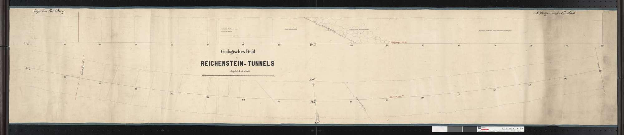 Geologisches Profil des Reichenstein-Tunnels der Bahn von Neckargemünd bis Eberbach Streckenausschnitt: ca. 1,0 bis ca. 1,2 km, Bild 1