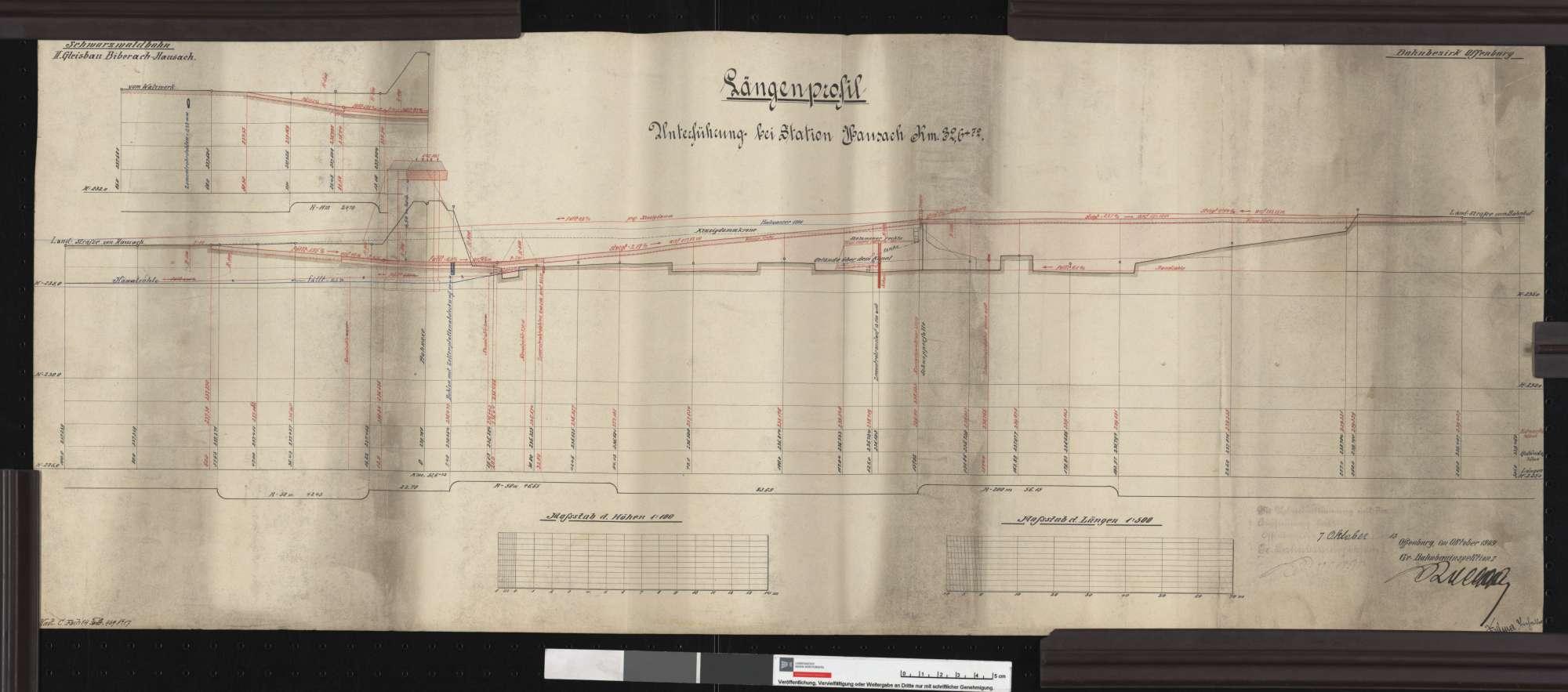 Längenprofil der Unterführung bei Station Hausach Streckenausschnitt: 32,6 km, Bild 1