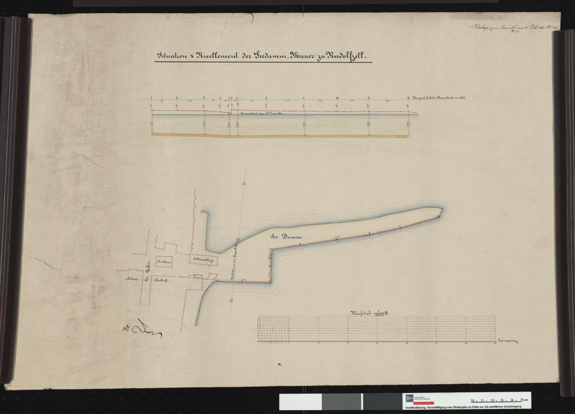 Seedamm-Mauer an der Eisenbahnlinie bei Radolfzell: Untersuchung des Baugrundes, Situation und Nivellement, Bild 1