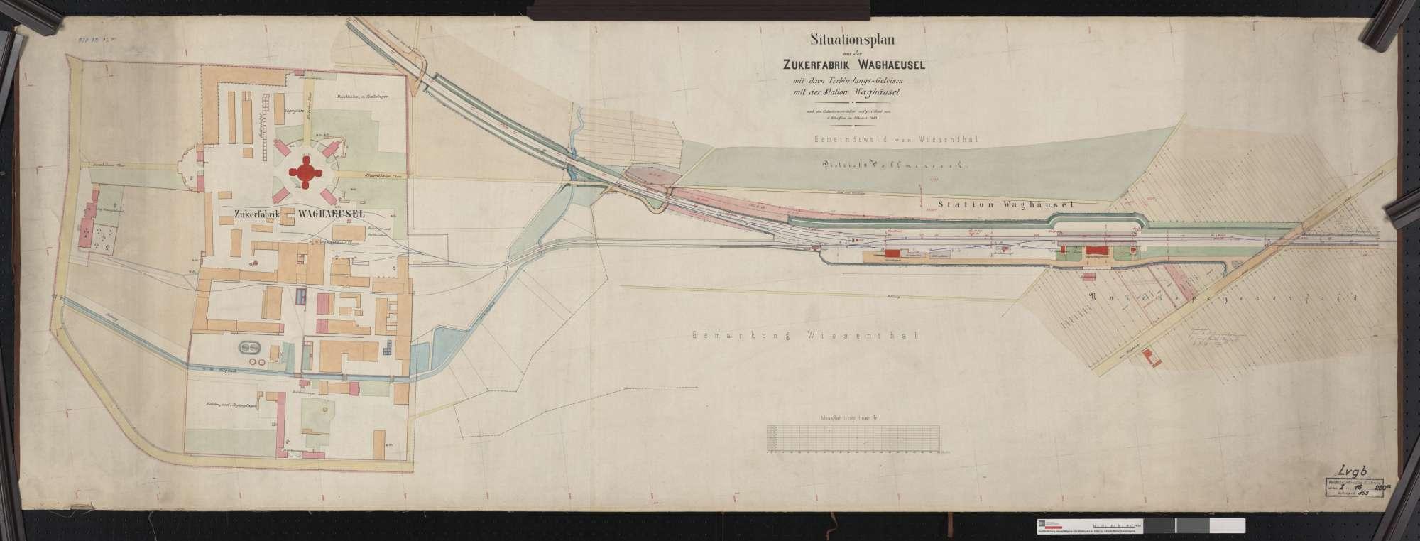 Situationsplan der Zuckerfabrik Waghäusel mit ihren Verbindungs-Gleisen mit der Station Waghäusel, Bild 1