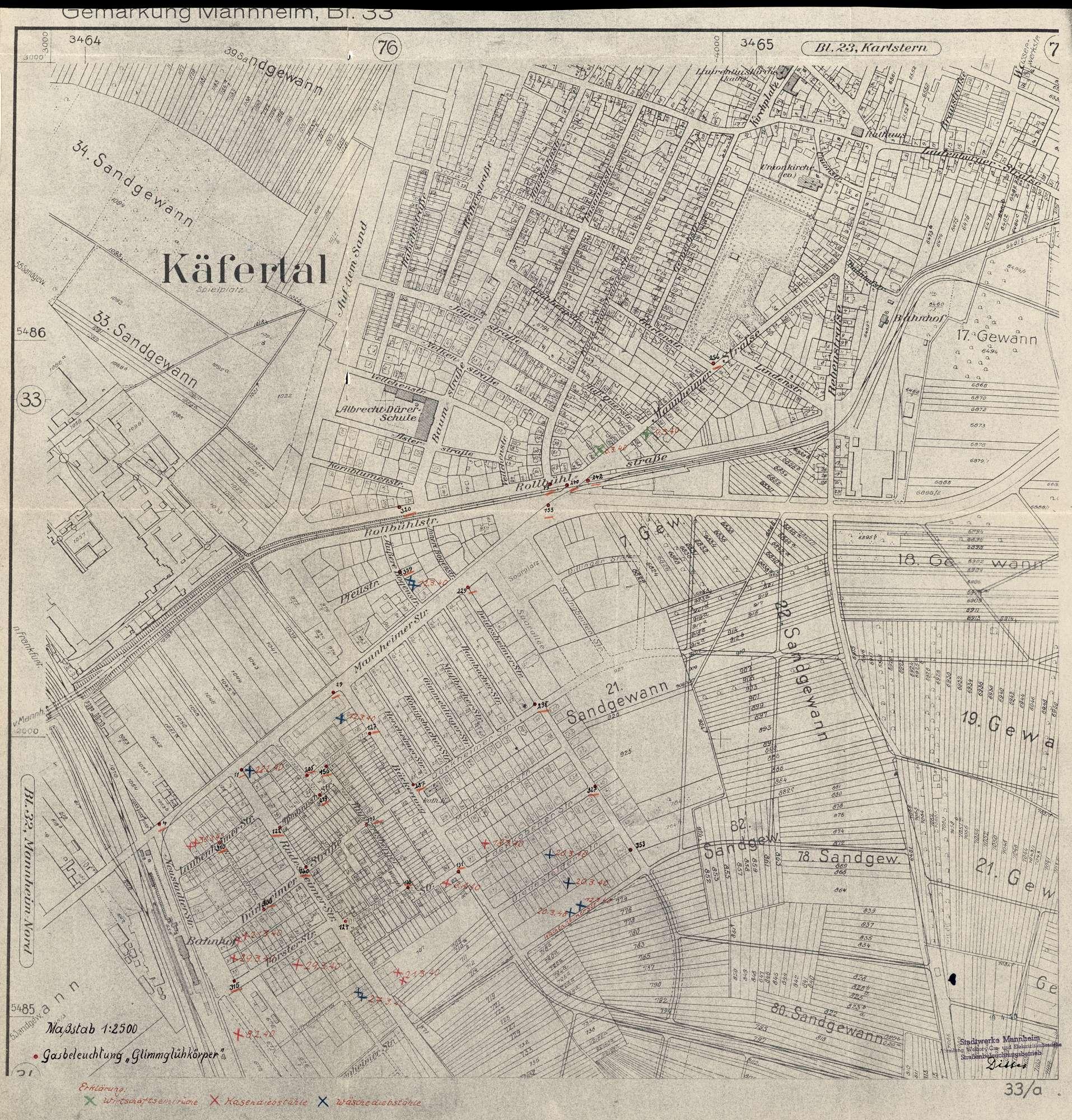 Stadtplan, Situationsplan Gemarkung Mannheim, Blatt 33, Bild 1