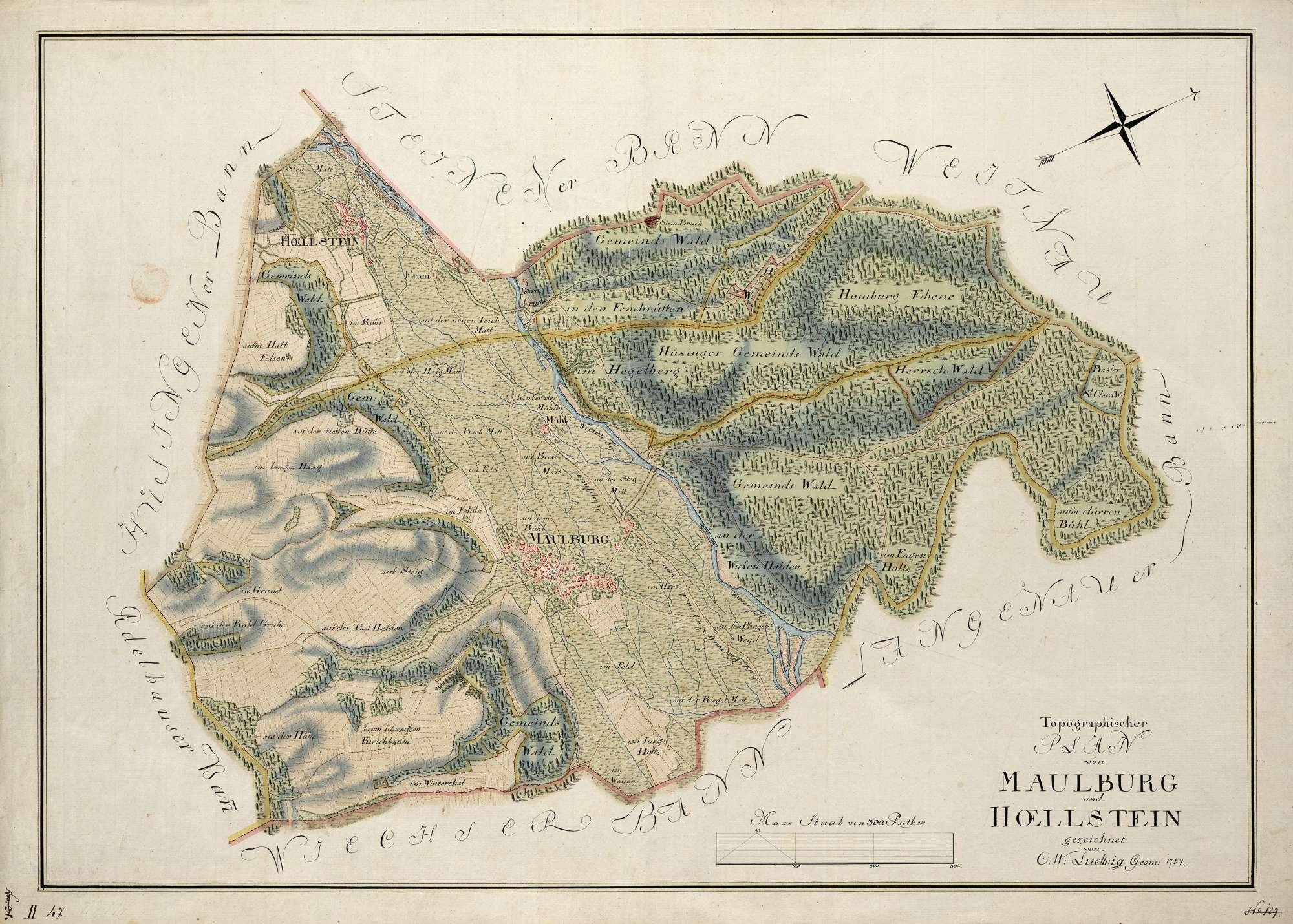 """""""Topographischer Plan von Maulburg und Hoellstein"""", Bild 1"""