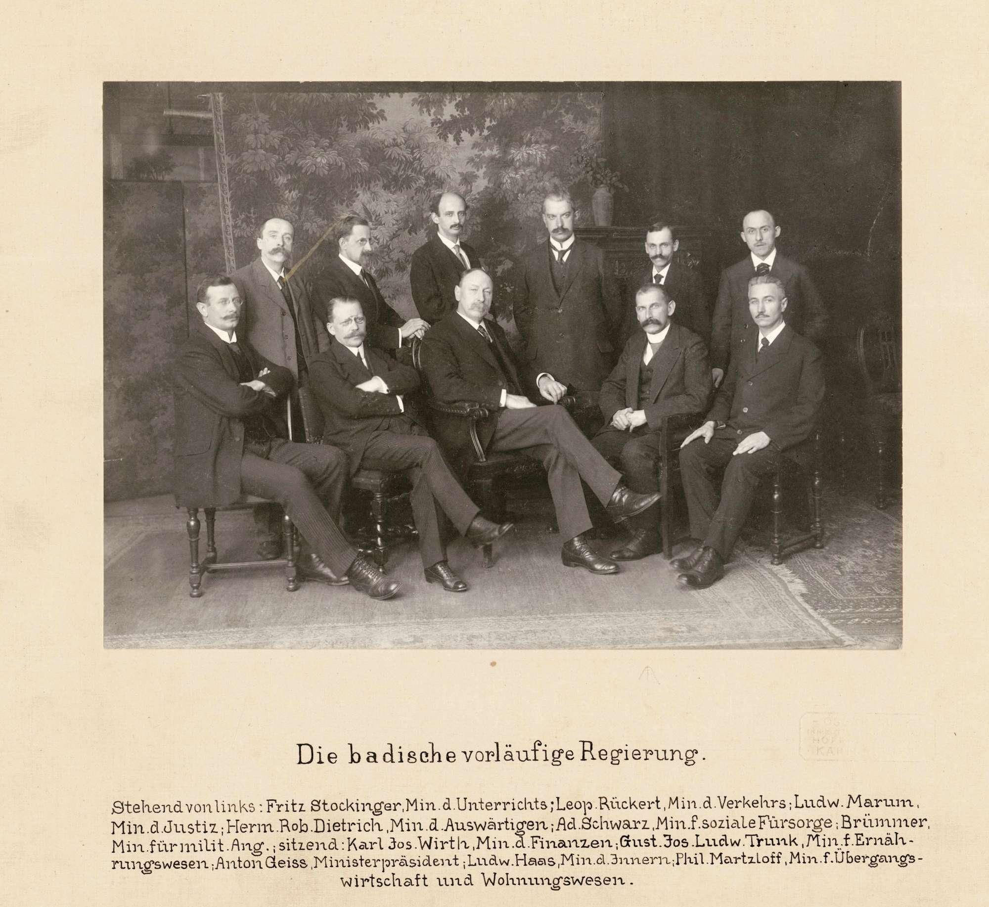 Baden - die vorläufige badische Regierung [1918/19], Bild 1