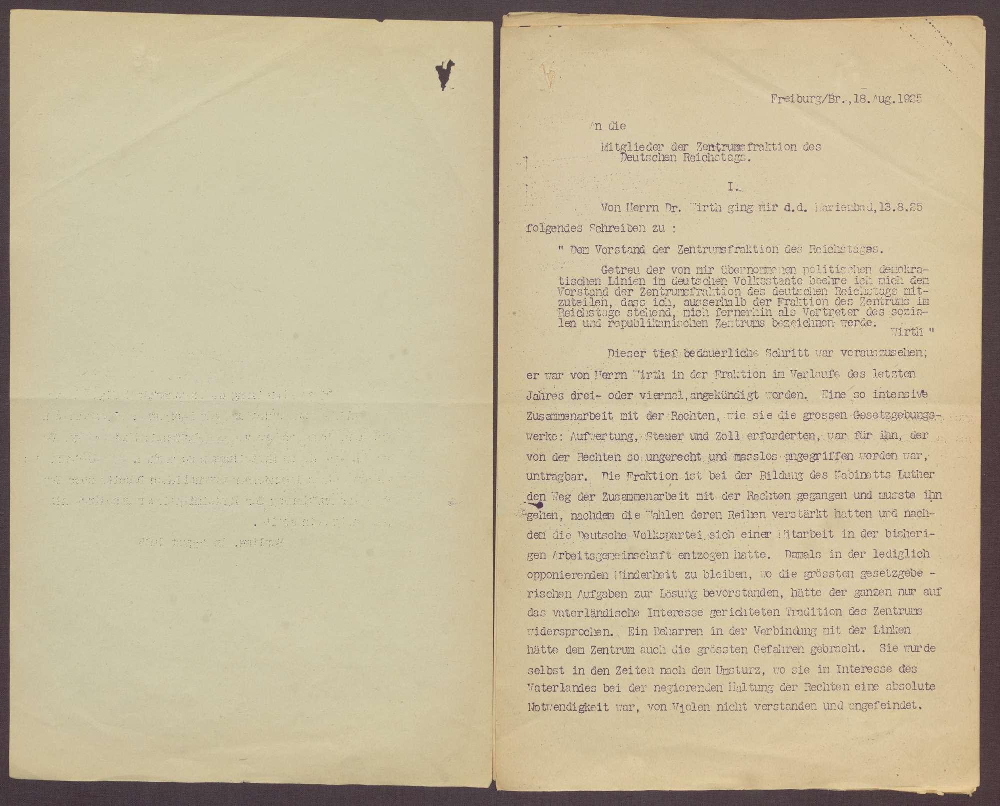 Fraktionsaustritt von Joseph Wirth und Zollvorlage der Regierung, Bild 2