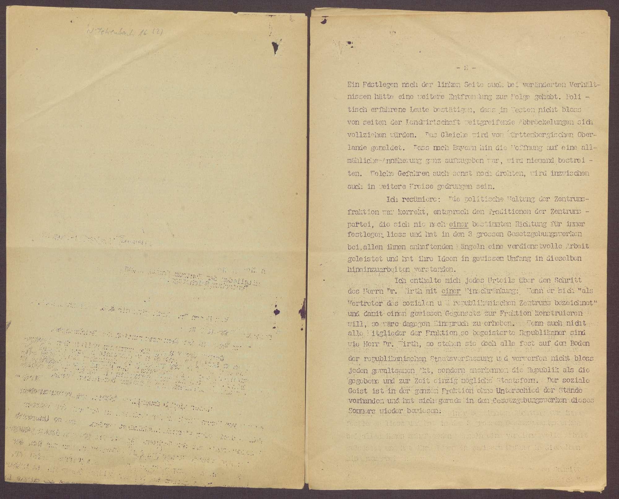 Fraktionsaustritt von Joseph Wirth und Zollvorlage der Regierung, Bild 3