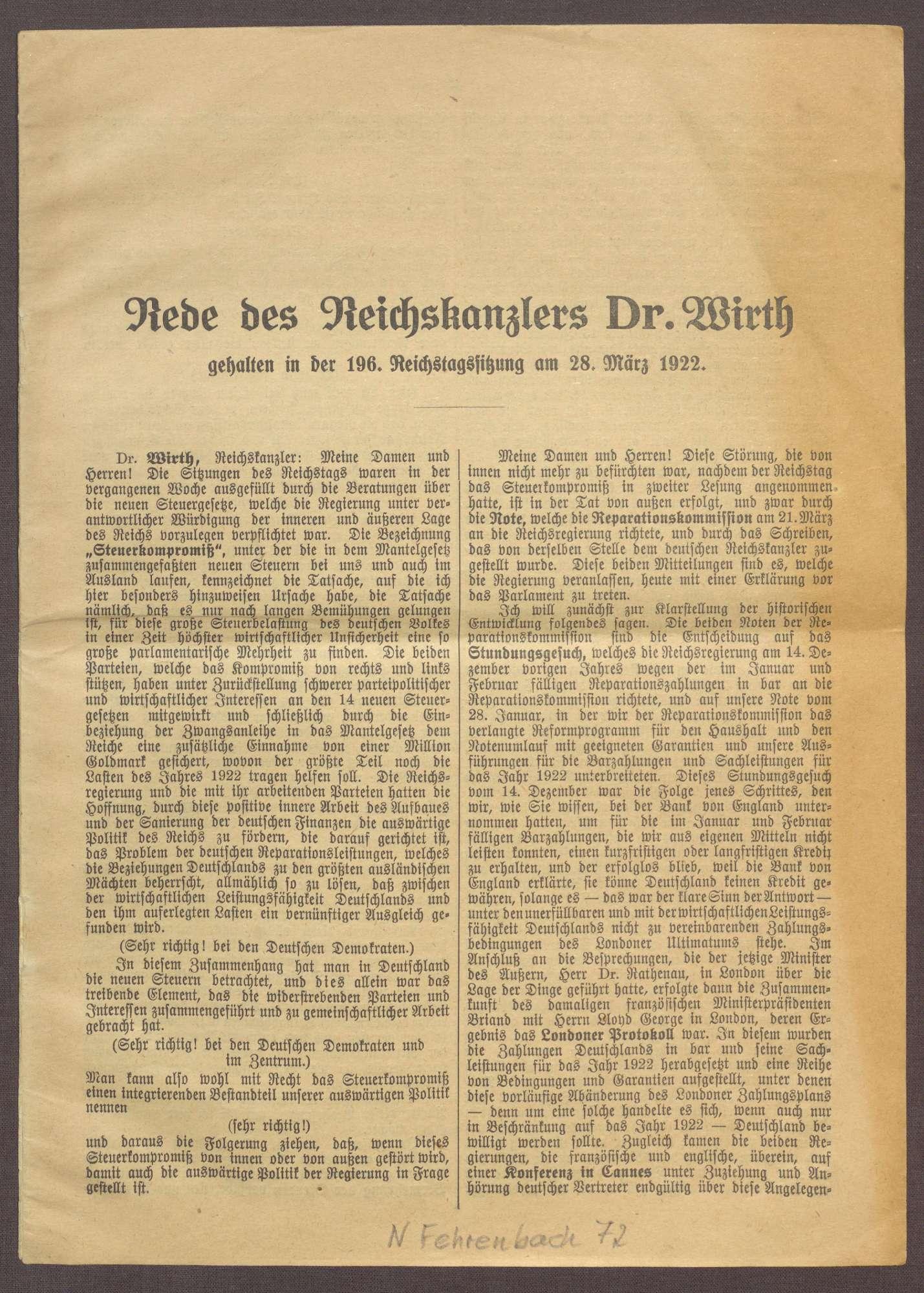 Reichstagsrede von Joseph Wirth zu den Reparationszahlungen Deutschlands, Bild 1