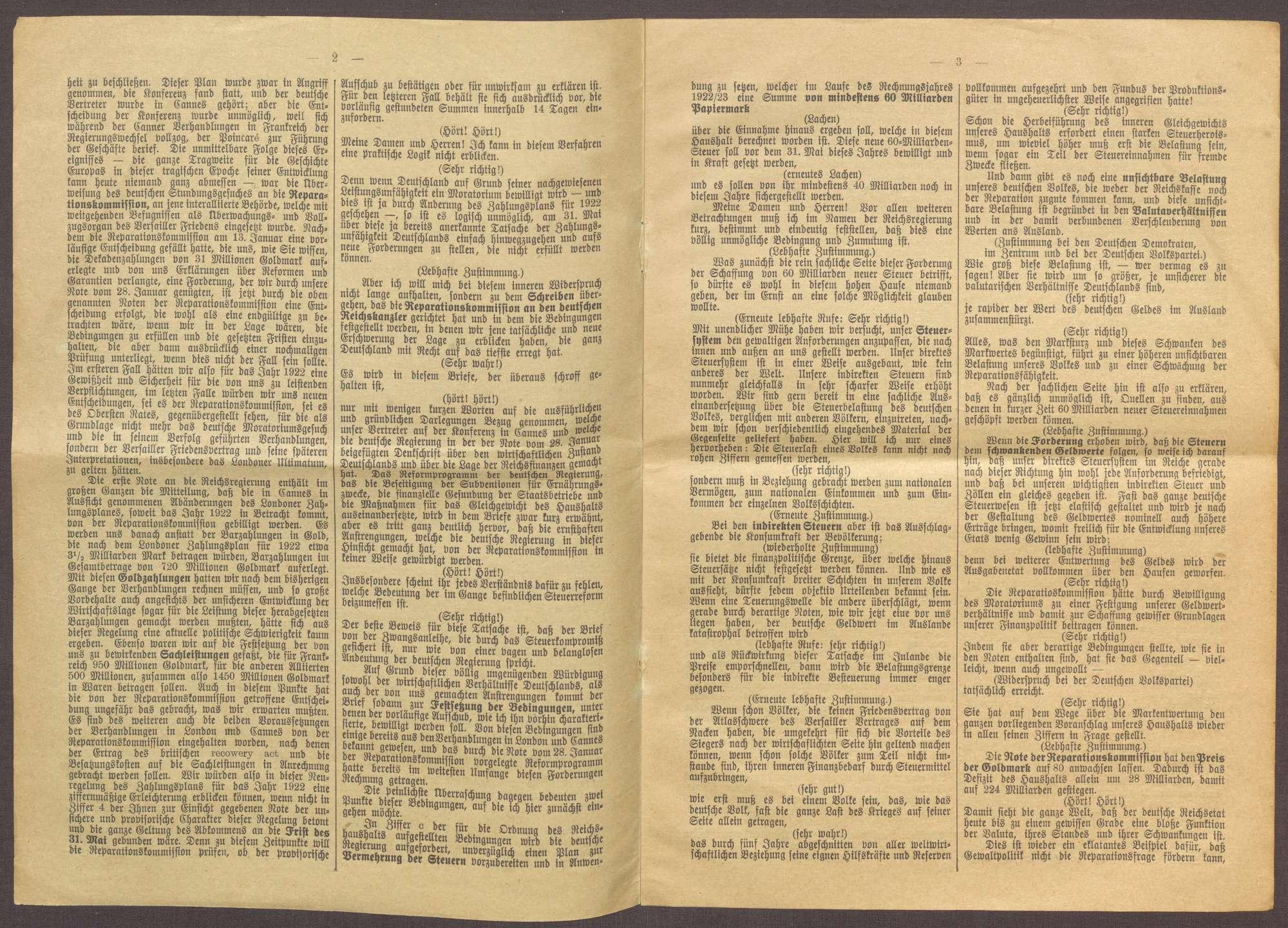 Reichstagsrede von Joseph Wirth zu den Reparationszahlungen Deutschlands, Bild 2