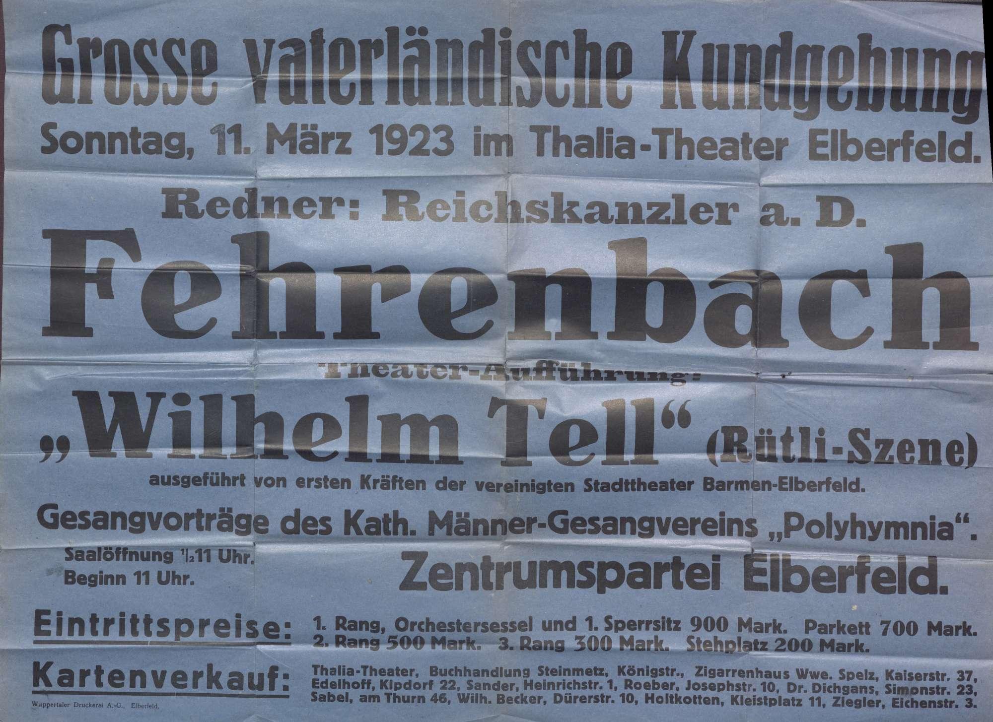 Plakat der Zentrumspartei Elberfeld, Rede des Reichskanzlers Fehrenbach bei einer großen vaterländischen Kundgebung, Bild 1