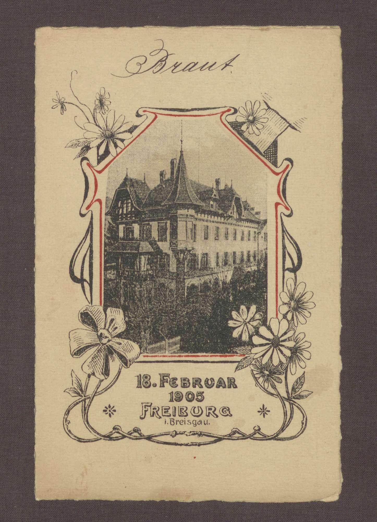 Menukarte, vermutlich zur Hochzeit Wilhelm Rosset - Elisabeth Fehrenbach, Bild 1