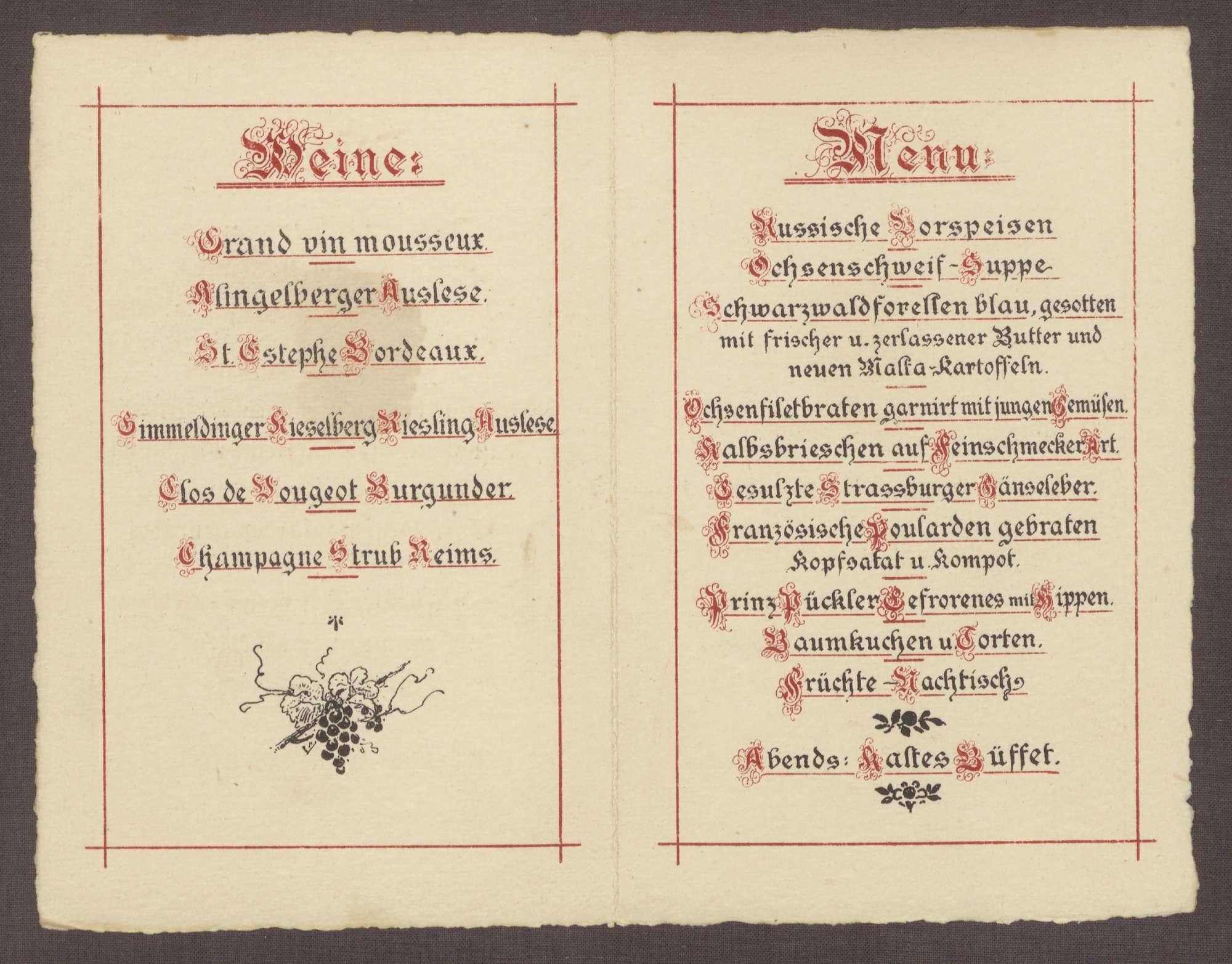 Menukarte, vermutlich zur Hochzeit Wilhelm Rosset - Elisabeth Fehrenbach, Bild 2