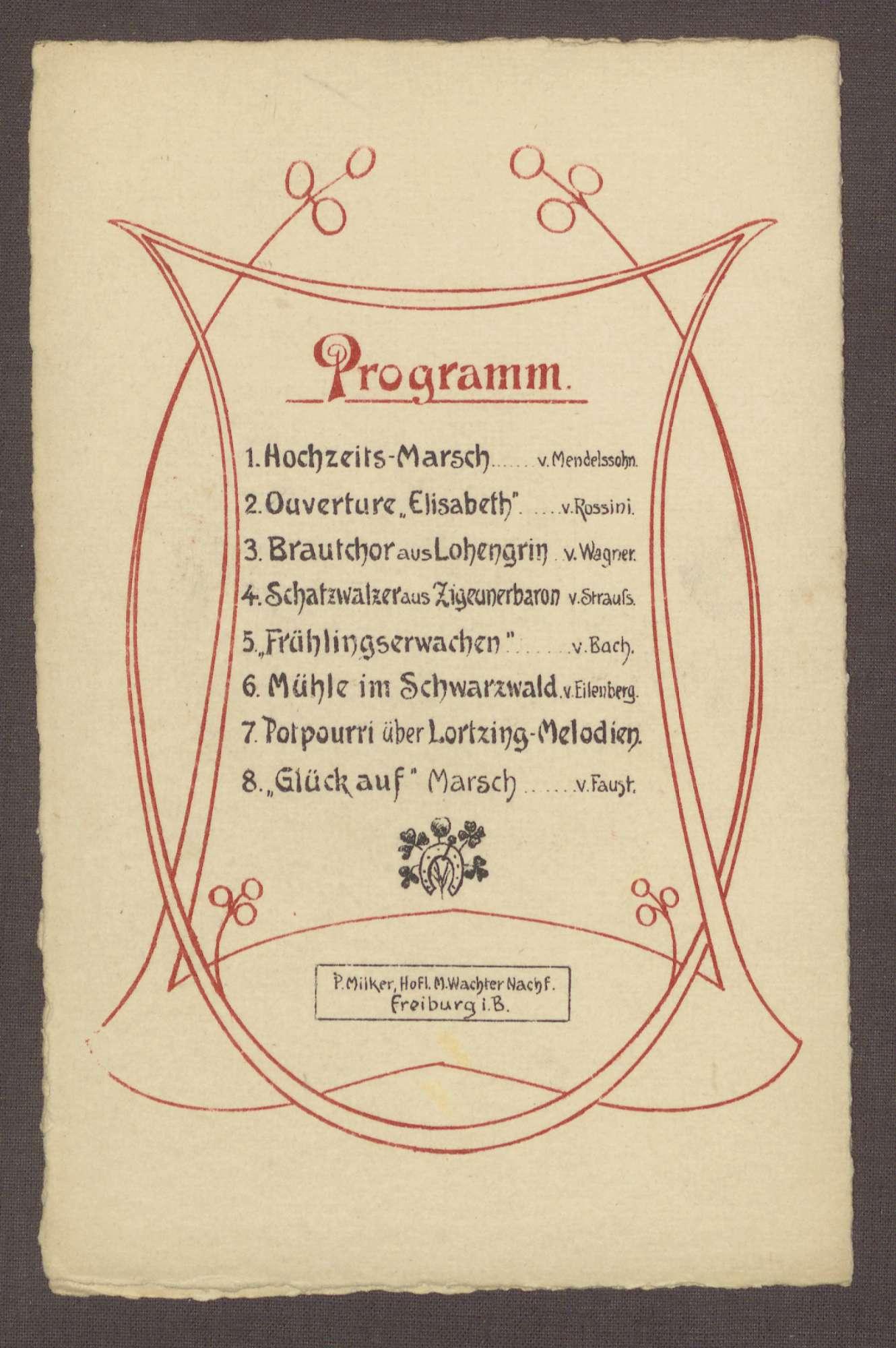 Menukarte, vermutlich zur Hochzeit Wilhelm Rosset - Elisabeth Fehrenbach, Bild 3