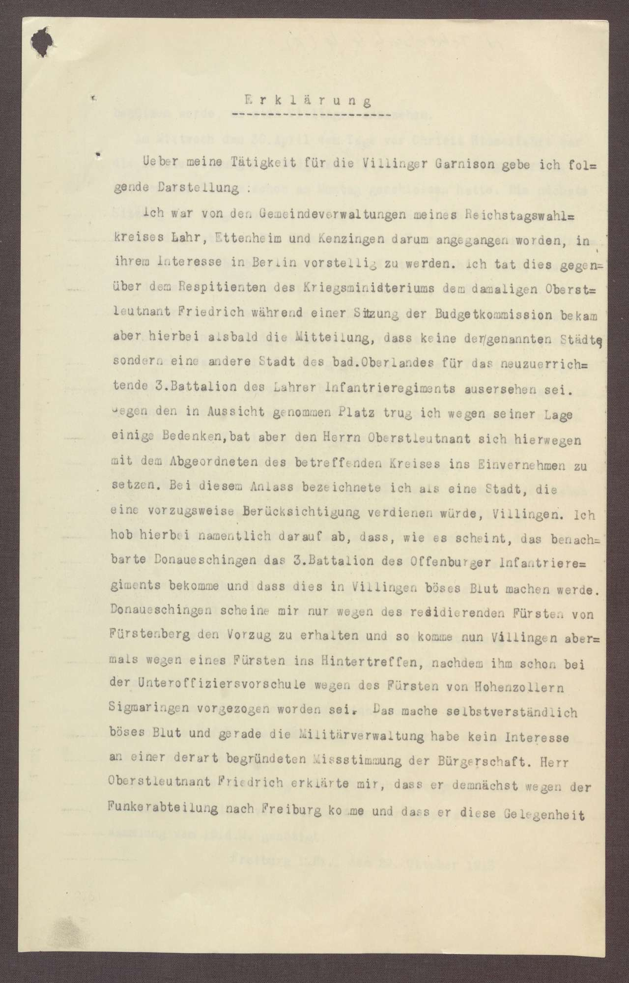 Erklärung von Constantin Fehrenbach, Einsatz für Villingen als Standort des 3. Battailon des Lahrer Infantrie-Regiments, 1 Schreiben, Bild 1