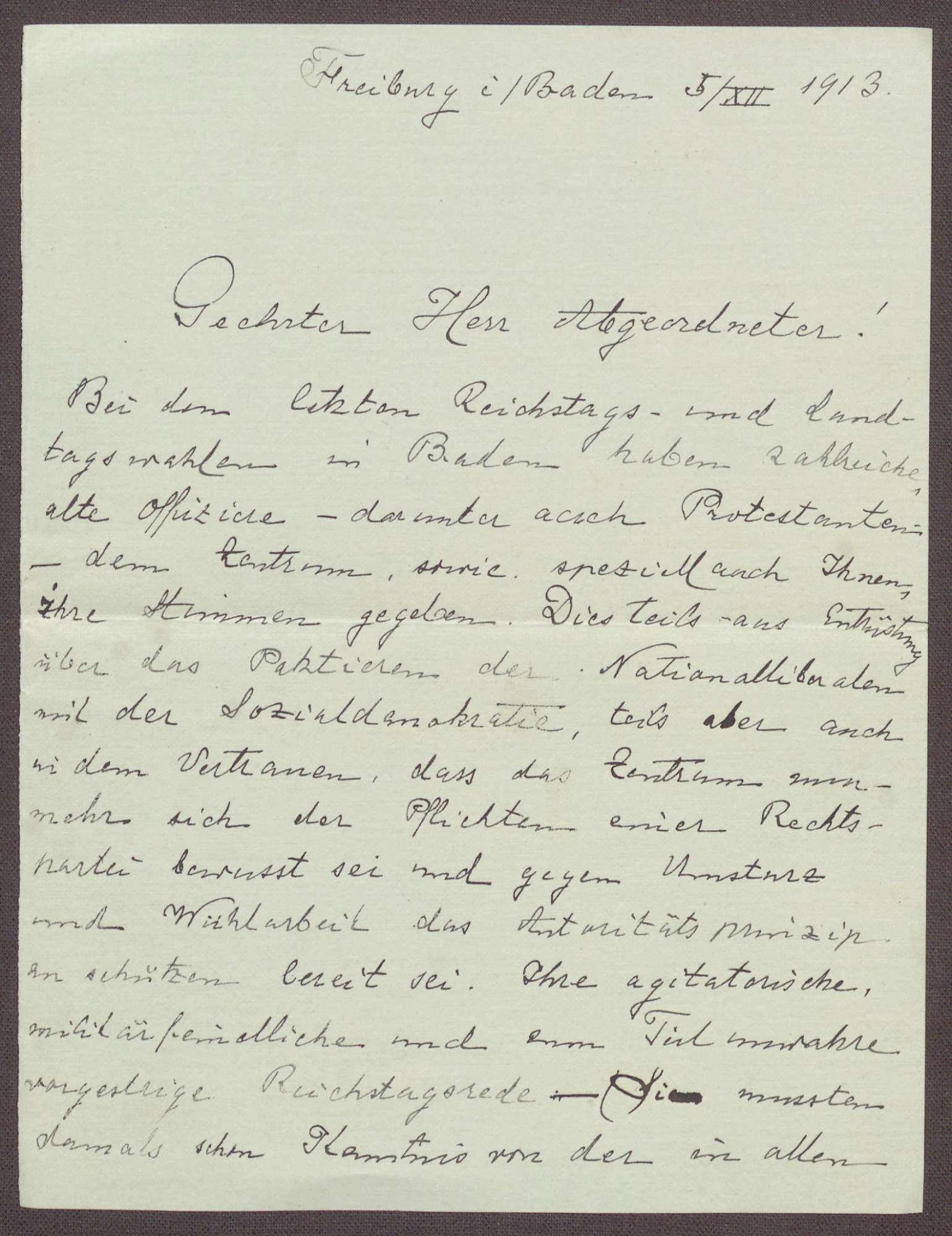 Schreiben von einem Offizier aus Freiburg an Constantin Fehrenbach, Kritik an der Zabern-Rede und dem Zentrum, Bild 1