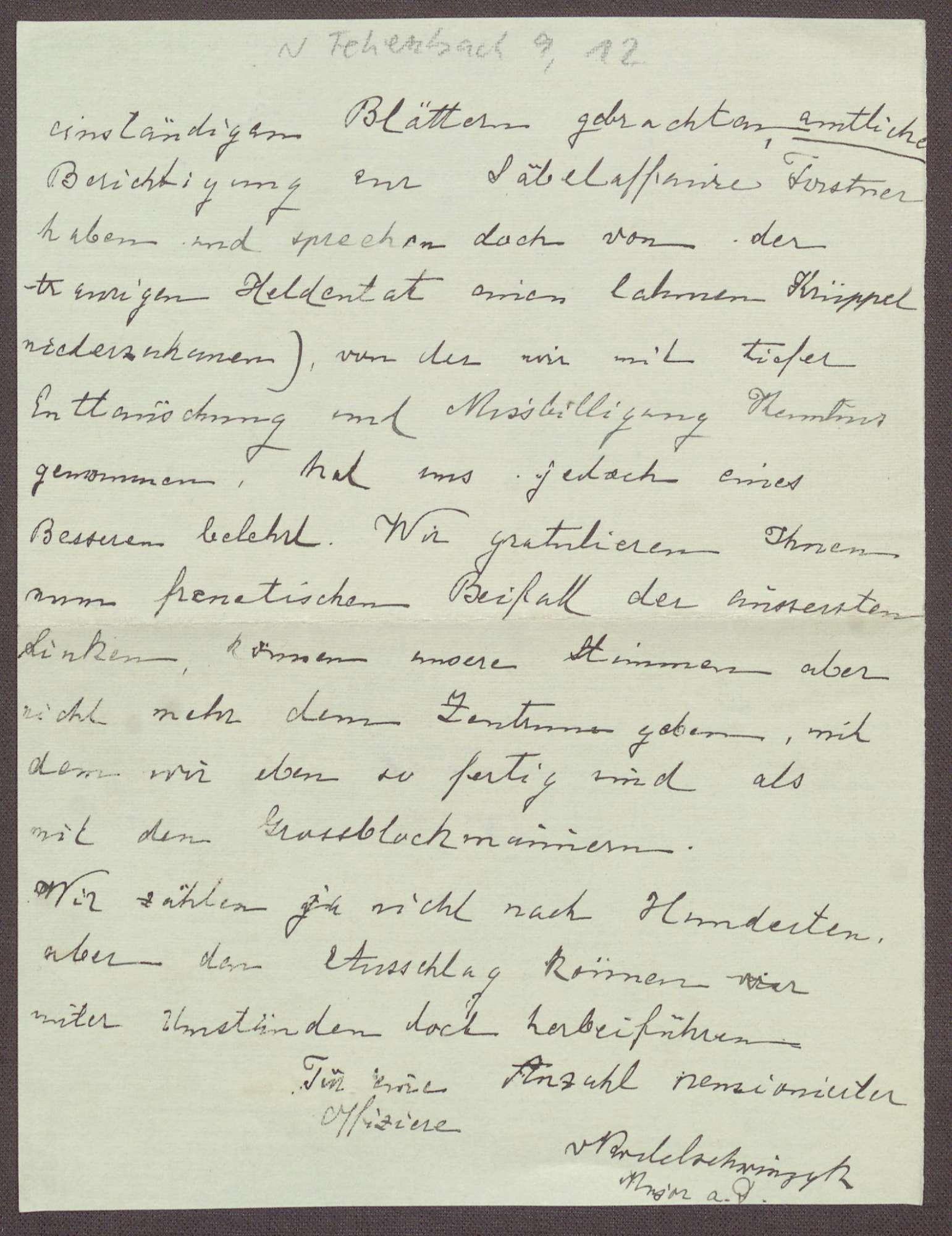 Schreiben von einem Offizier aus Freiburg an Constantin Fehrenbach, Kritik an der Zabern-Rede und dem Zentrum, Bild 2
