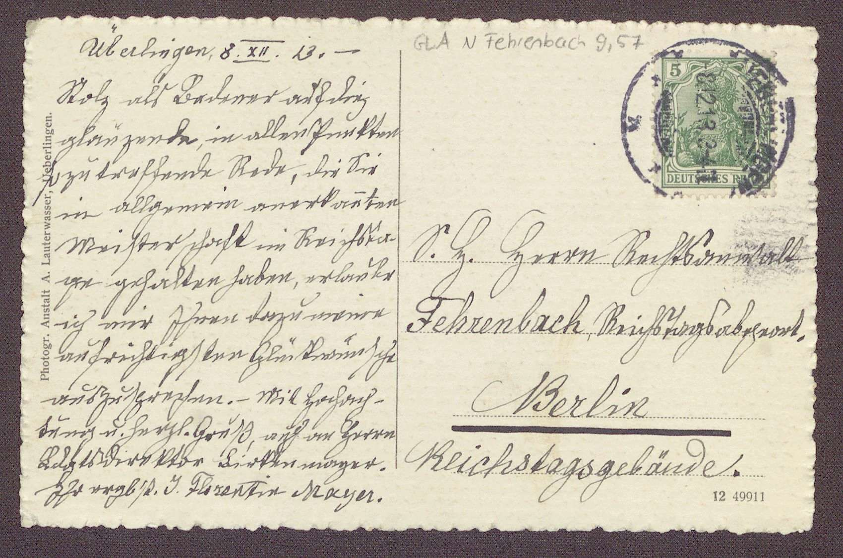 Postkarte mit einem Motiv des Münsters in Überlingen von Florentin Mayer an Constantin Fehrenbach, Lob für die Zabern-Rede, Bild 1