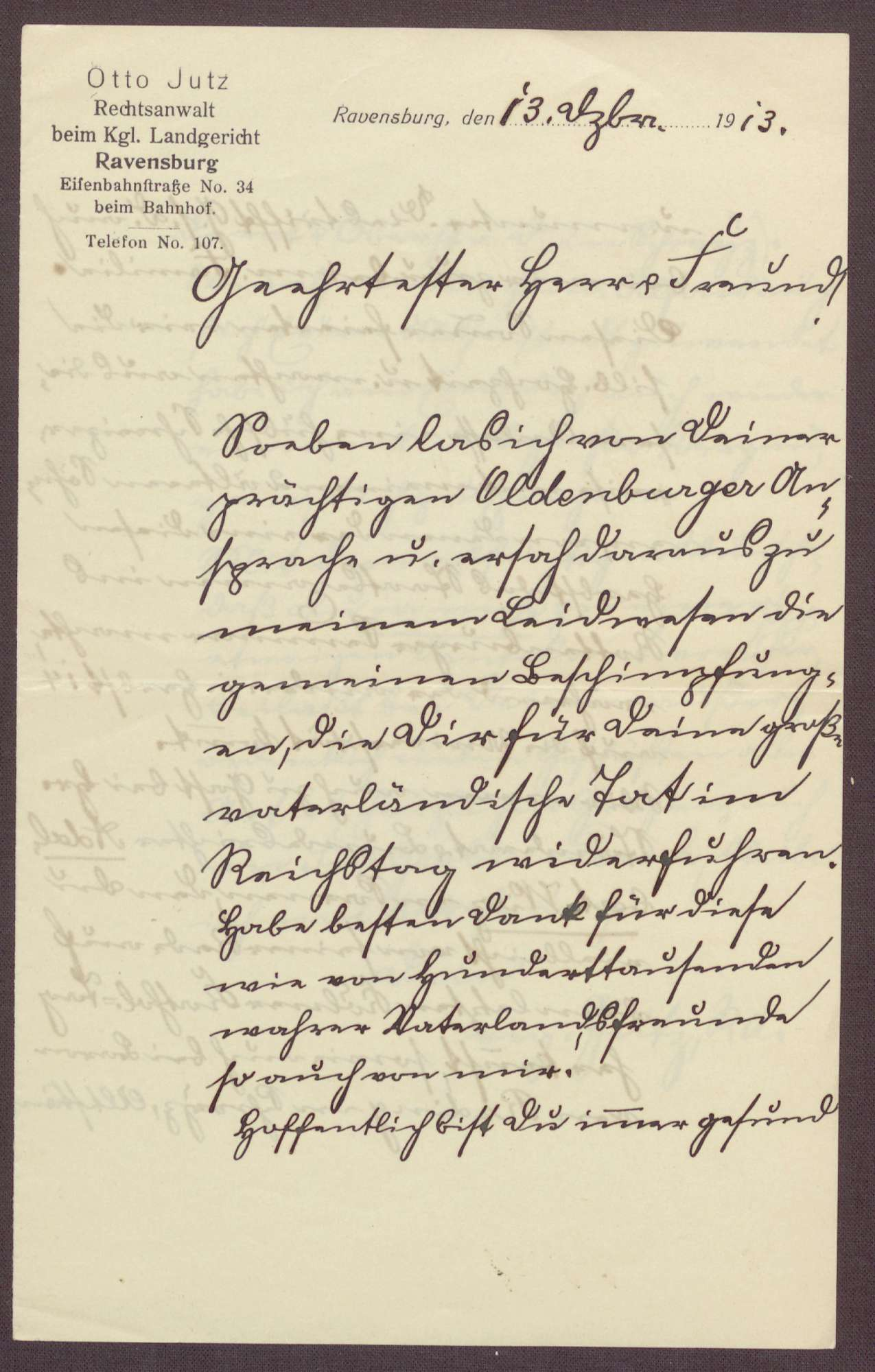 Schreiben von Otto Jutz, Rechtswanwalt in Ravensburg, an Constantin Fehrenbach, Lob für die Zabern-Rede und Berichte aus Ravensburg und Rottenburg am Neckar, Bild 1