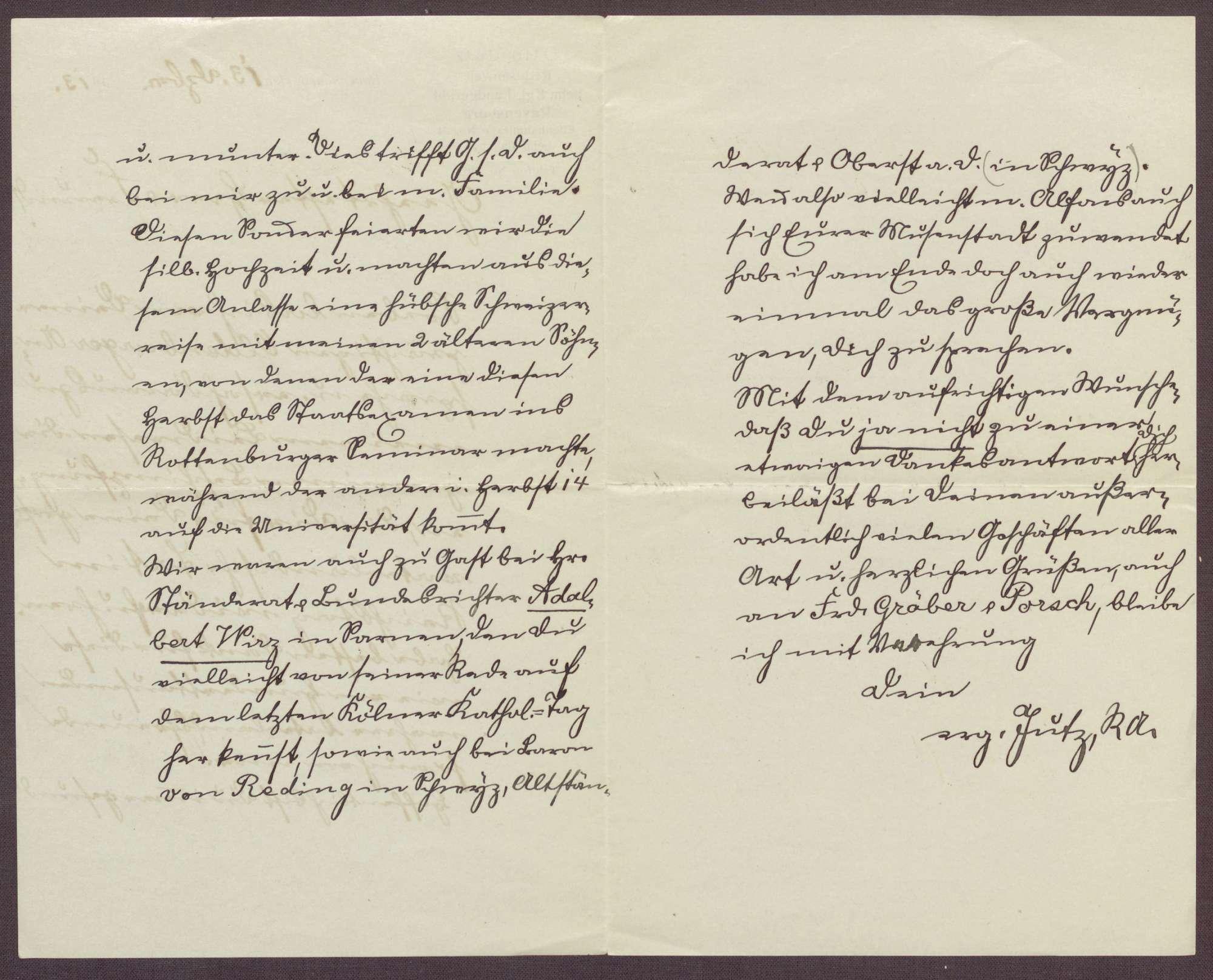 Schreiben von Otto Jutz, Rechtswanwalt in Ravensburg, an Constantin Fehrenbach, Lob für die Zabern-Rede und Berichte aus Ravensburg und Rottenburg am Neckar, Bild 2