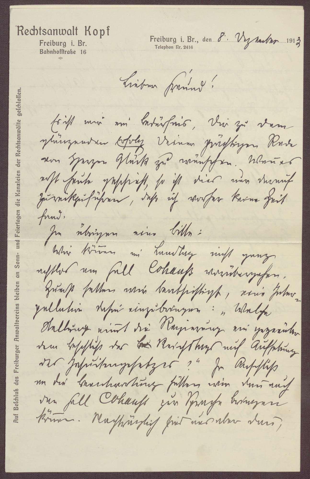 Schreiben von Ferdinand Kopf, Rechtsanwalt in Freiburg, an Constantin Fehrenbach, 2 Schreiben, Lob für die Zabern-Rede und Einschätzung der politischen Lage im Deutschen Reich, Bild 1