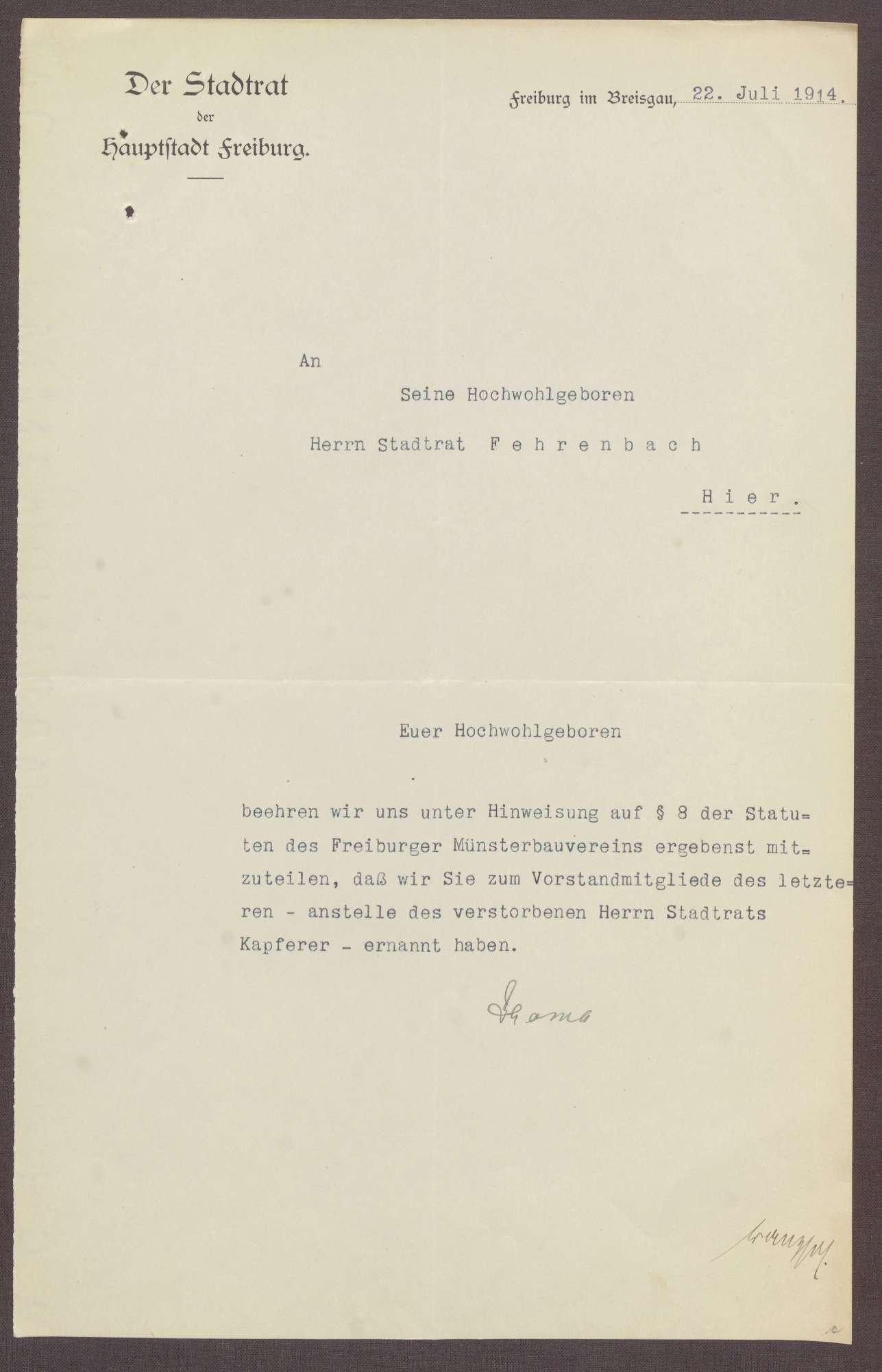 Wahl von Constantin Fehrenbach zum Vorstandsmitglied des Freiburger Münsterbauvereins, Bild 1
