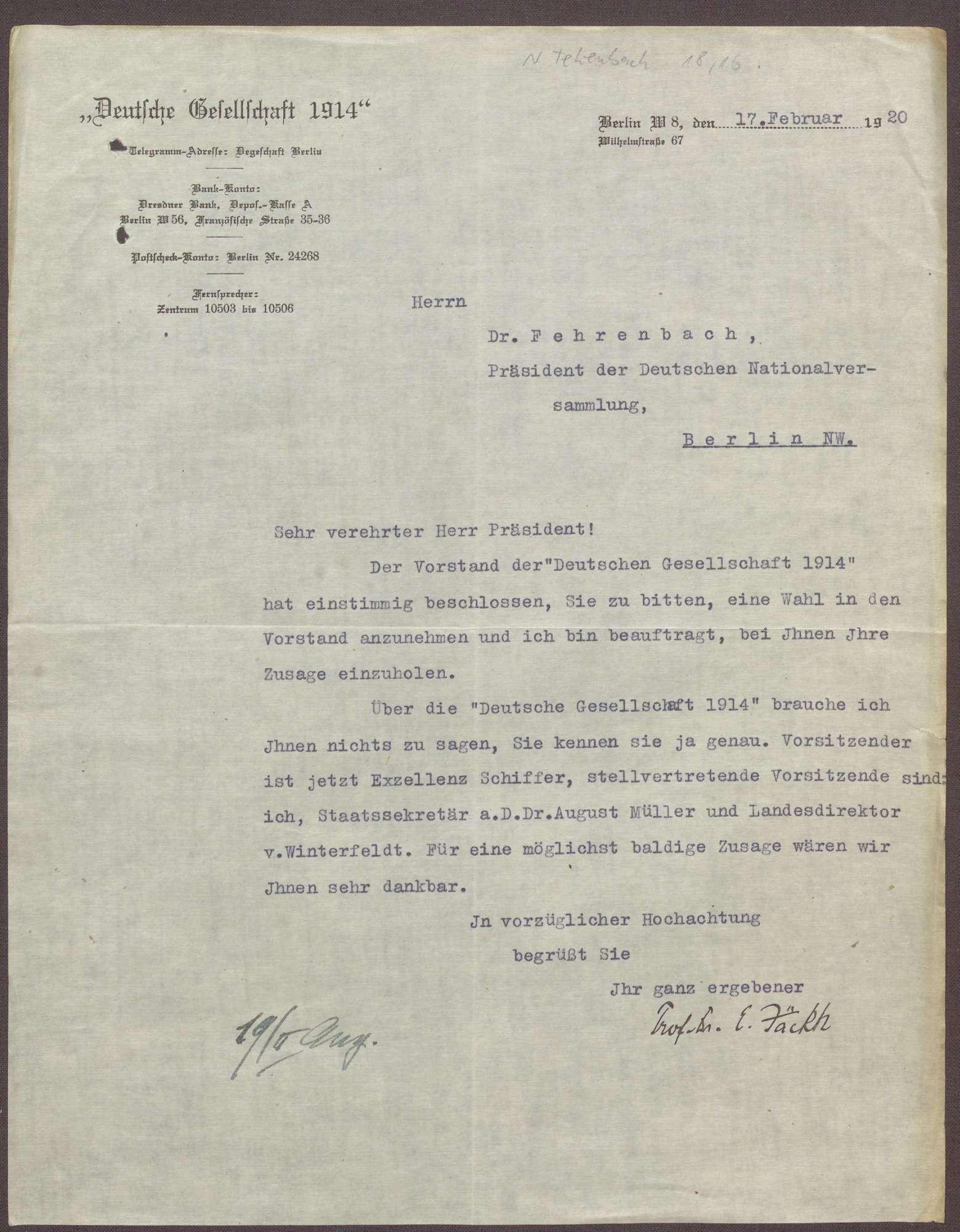 """Wahl von Constantin Fehrenbach in den Vorstand der """"Deutsche Gesellschaft 1914"""", Berlin, Bild 1"""