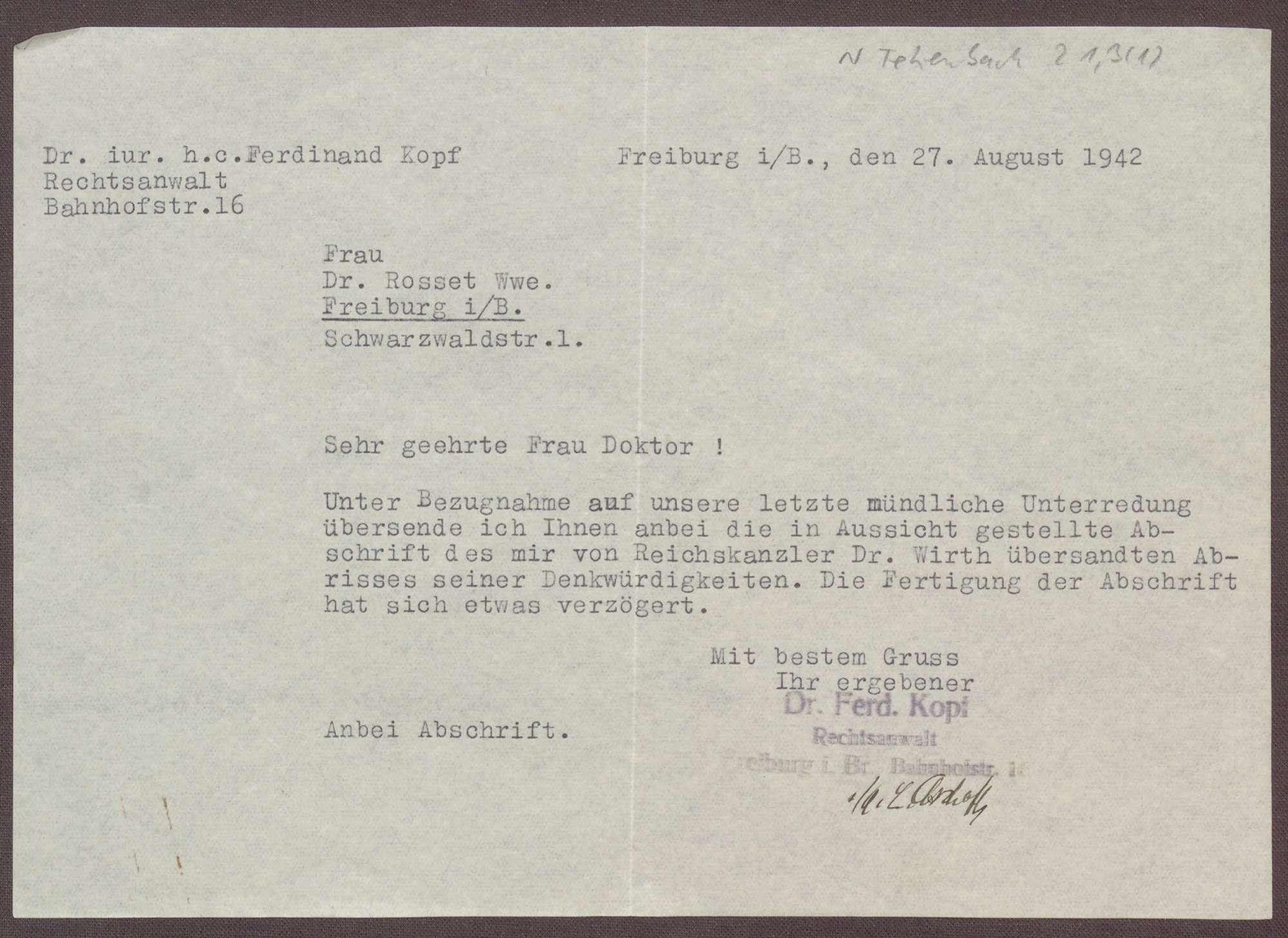 Schreiben von Ferdinand Kopf an Elisabeth Rosset, Übersendung einer Abschrift der Memoiren von Joseph Wirth, Bild 1