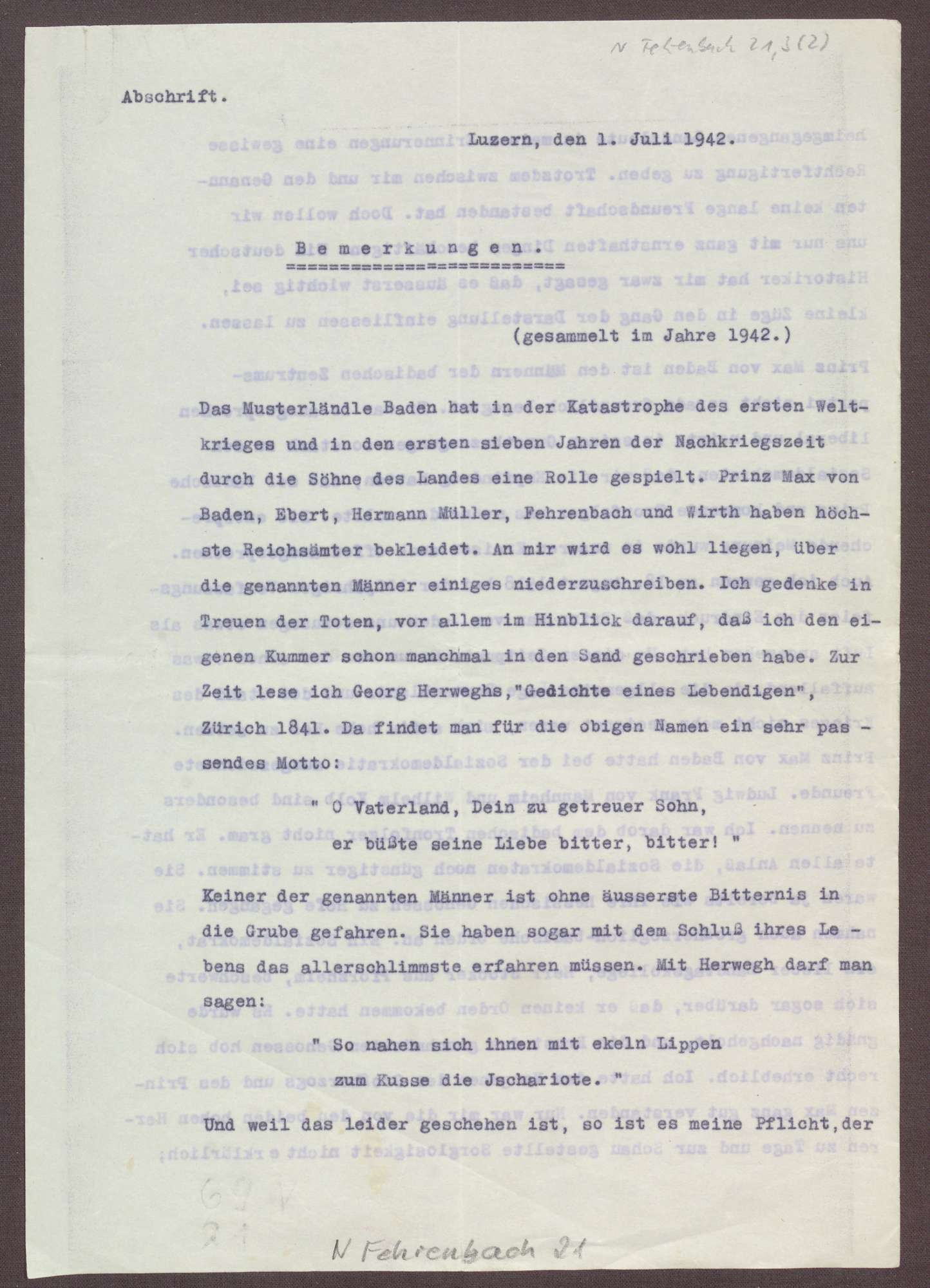Schreiben von Ferdinand Kopf an Elisabeth Rosset, Übersendung einer Abschrift der Memoiren von Joseph Wirth, Bild 2