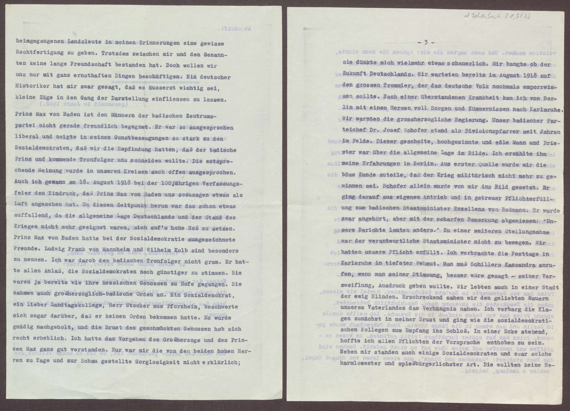 Schreiben von Ferdinand Kopf an Elisabeth Rosset, Übersendung einer Abschrift der Memoiren von Joseph Wirth, Bild 3