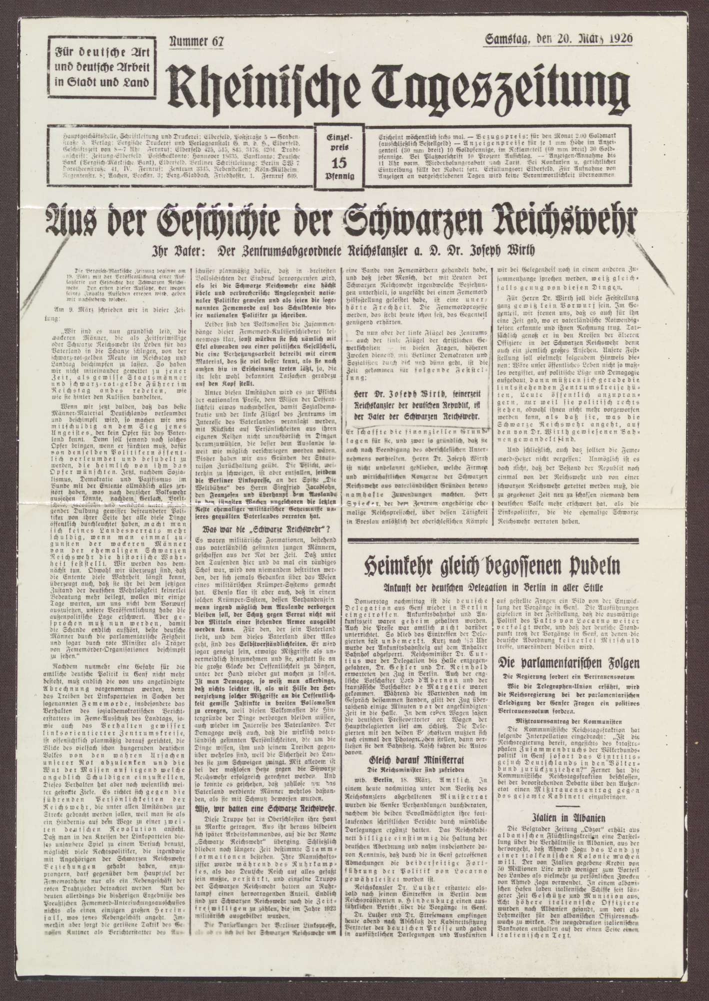"""Zeitungsartikel des Rheinischen Tagblatt vom 20.03.1926 """"Aus der Geschichte der Schwarzen Reichswehr - Ihr Vater: Der Zentrumsabgeordnete Reichskanzler a. D. Dr. Joseph Wirth"""", Bild 1"""