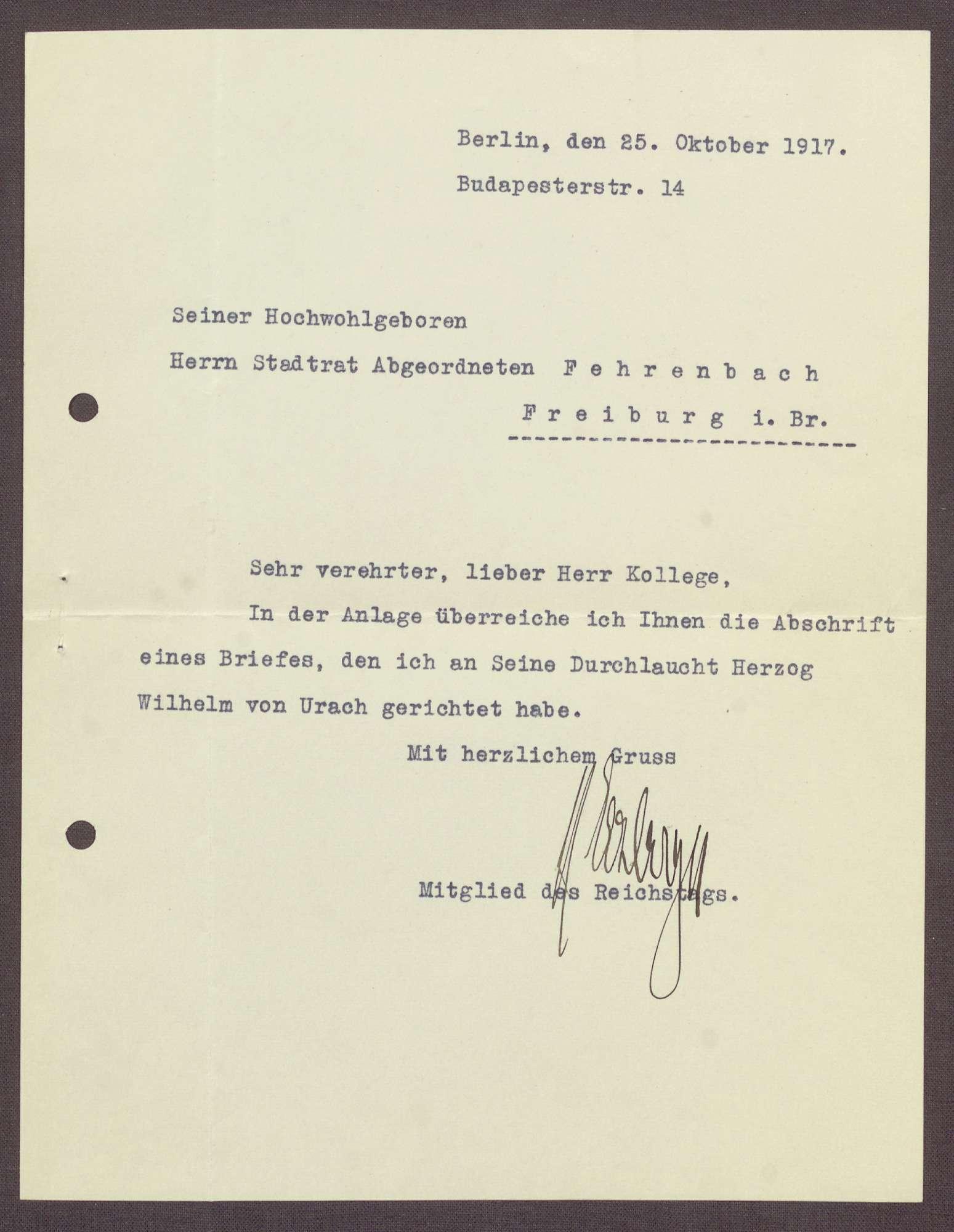 Schreiben von Matthias Erzberger an Constantin Fehrenbach, Abschrift eines Briefes an Herzog Wilhelm Karl von Urach, Bild 1